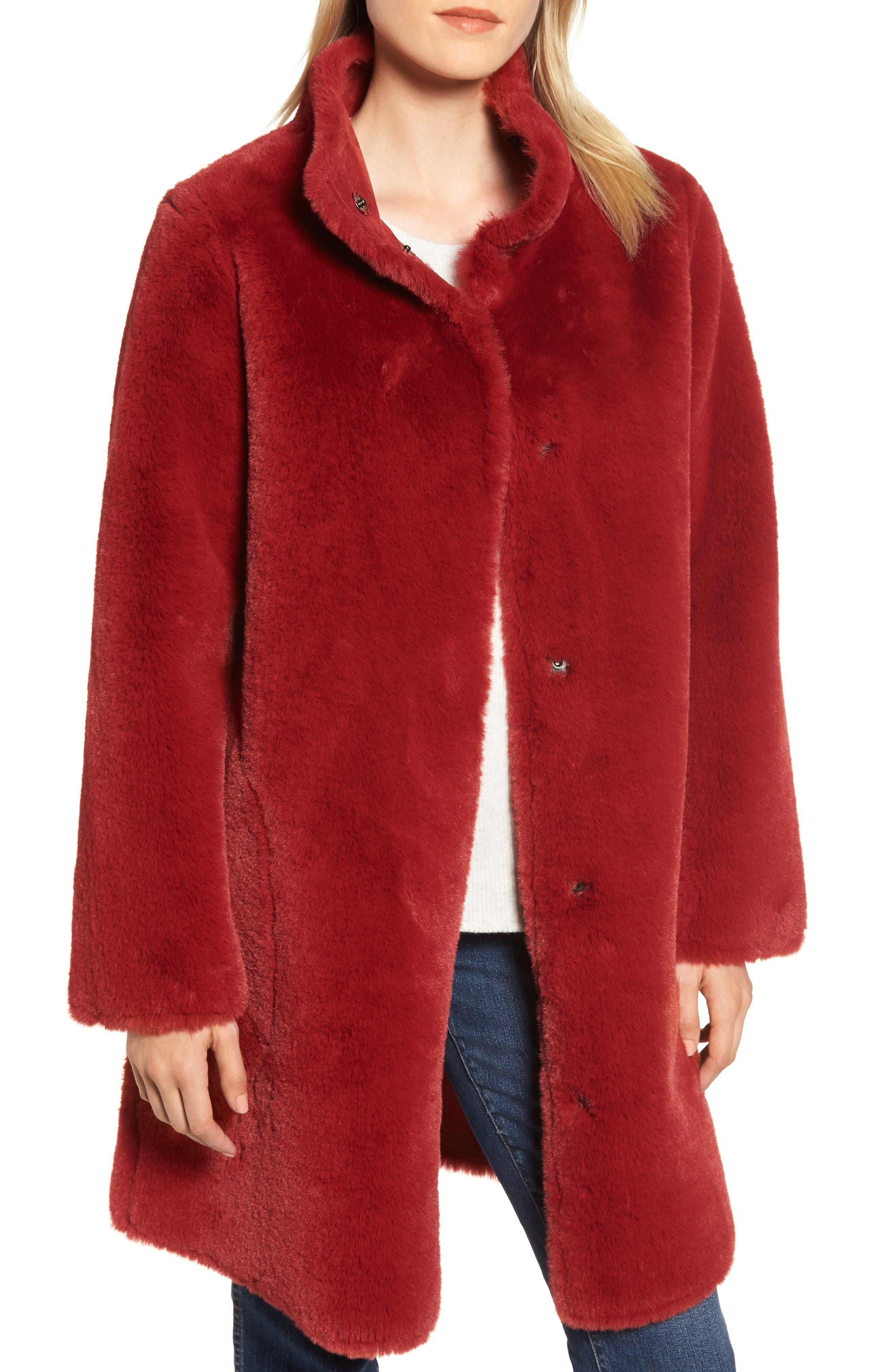 Faux Fur Reversible Coat,                             Main thumbnail 1, color,                             RED