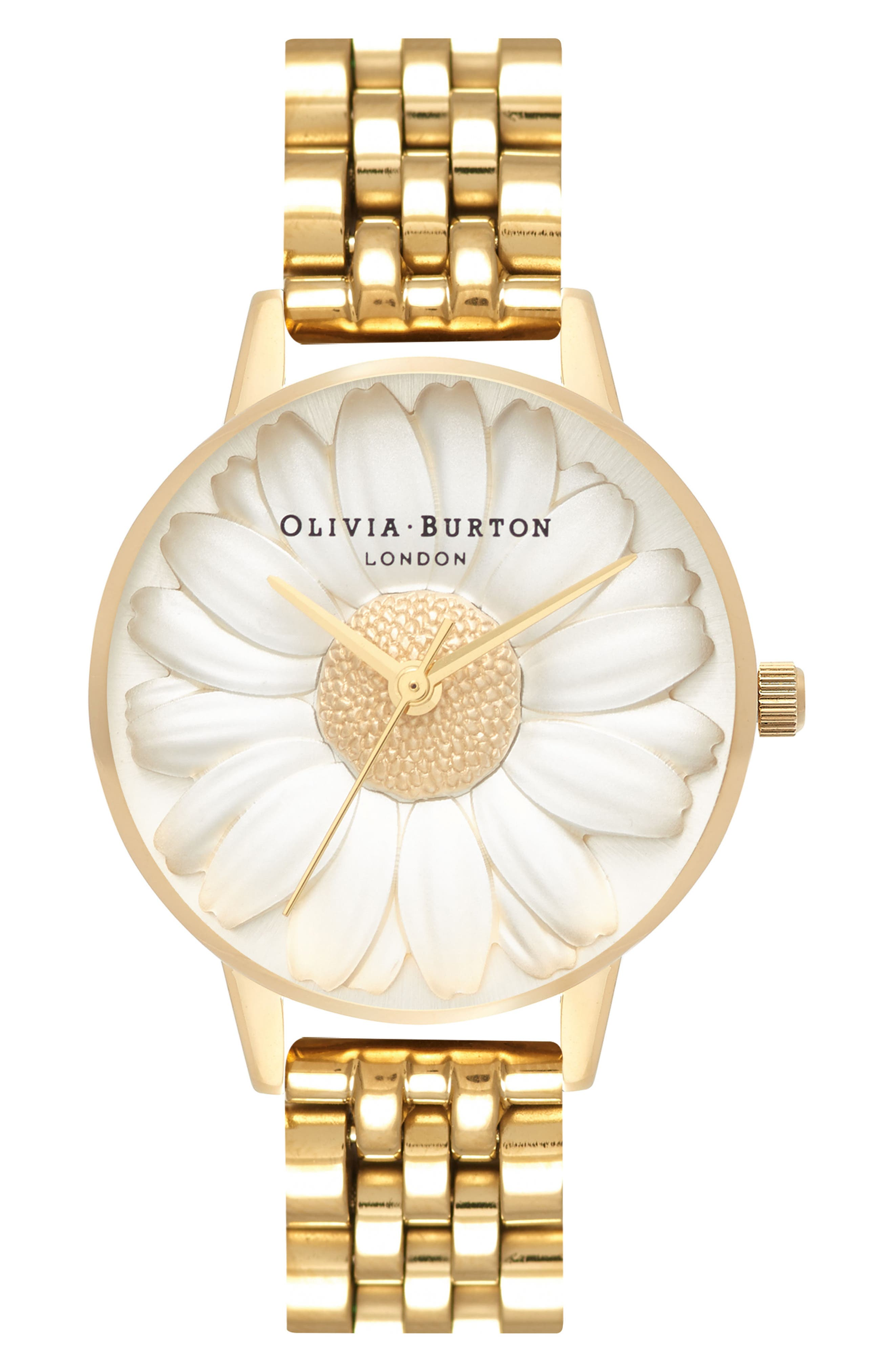 3D Daisy Bracelet Watch, 30mm,                             Main thumbnail 1, color,                             GOLD/ IVORY/ GOLD