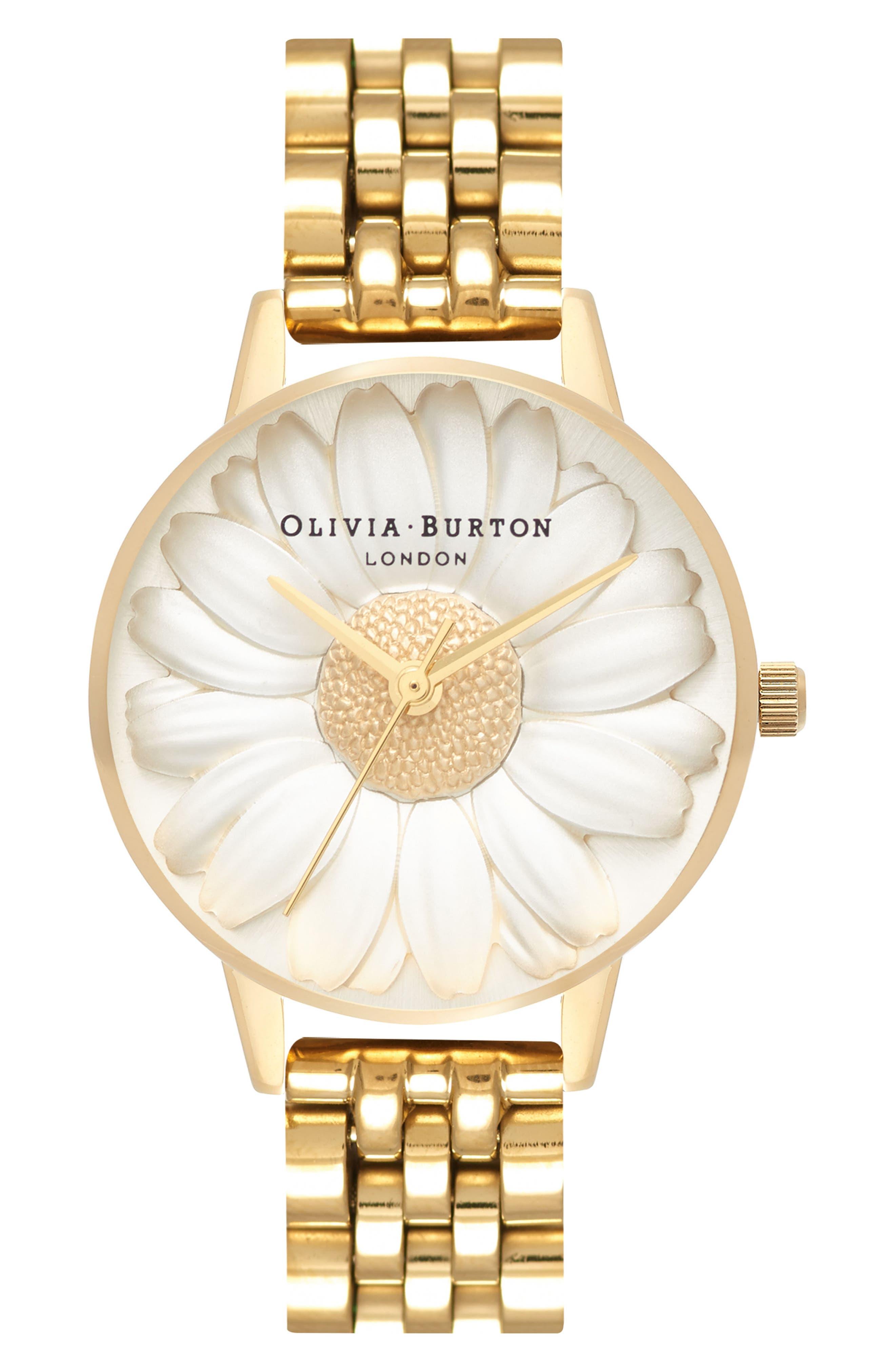 3D Daisy Bracelet Watch, 30mm,                         Main,                         color, GOLD/ IVORY/ GOLD