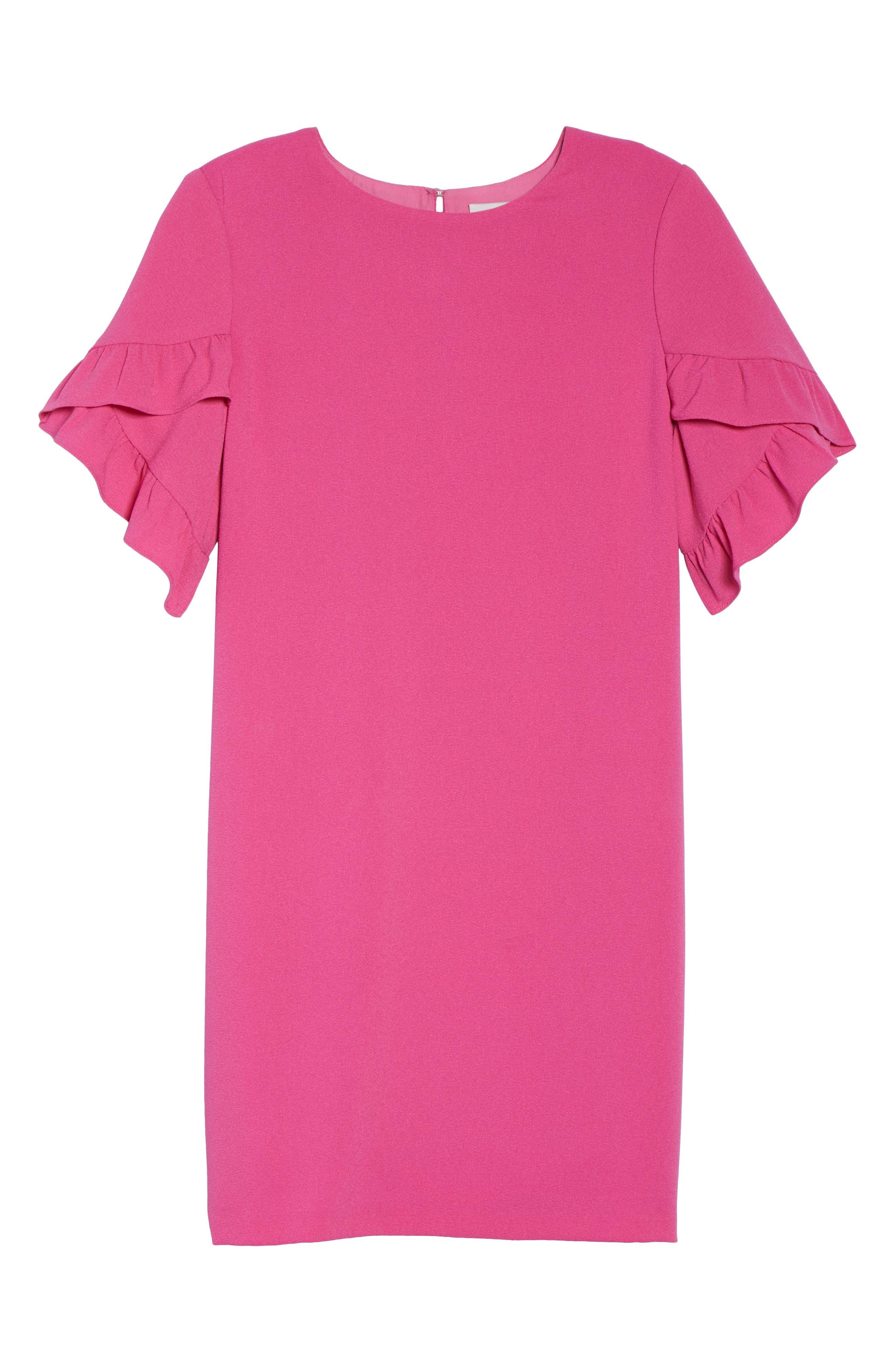 Ruffle Sleeve Shift Dress,                             Alternate thumbnail 6, color,                             660