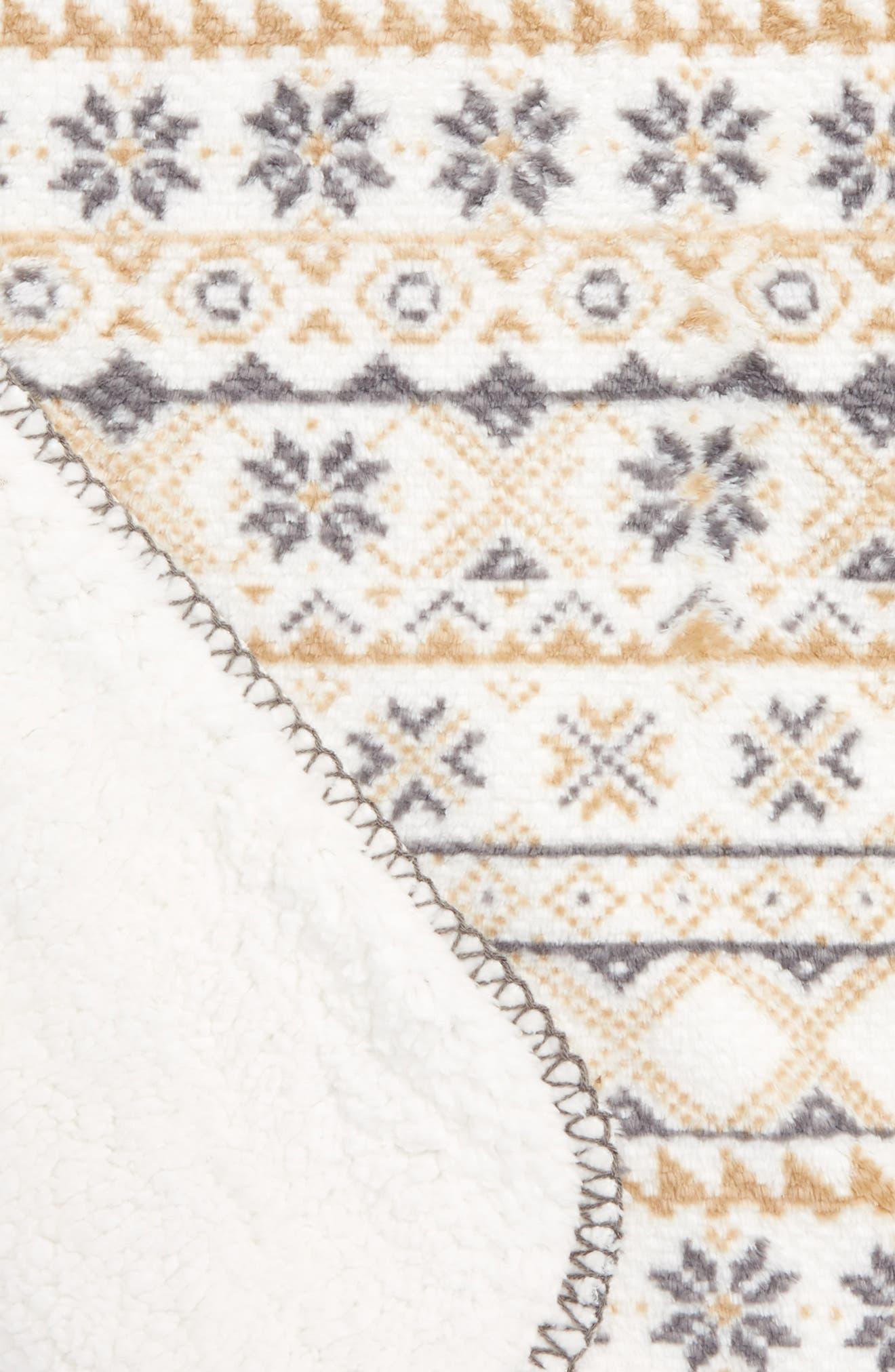 Fair Isle Print Faux Shearling Blanket,                             Alternate thumbnail 2, color,                             900