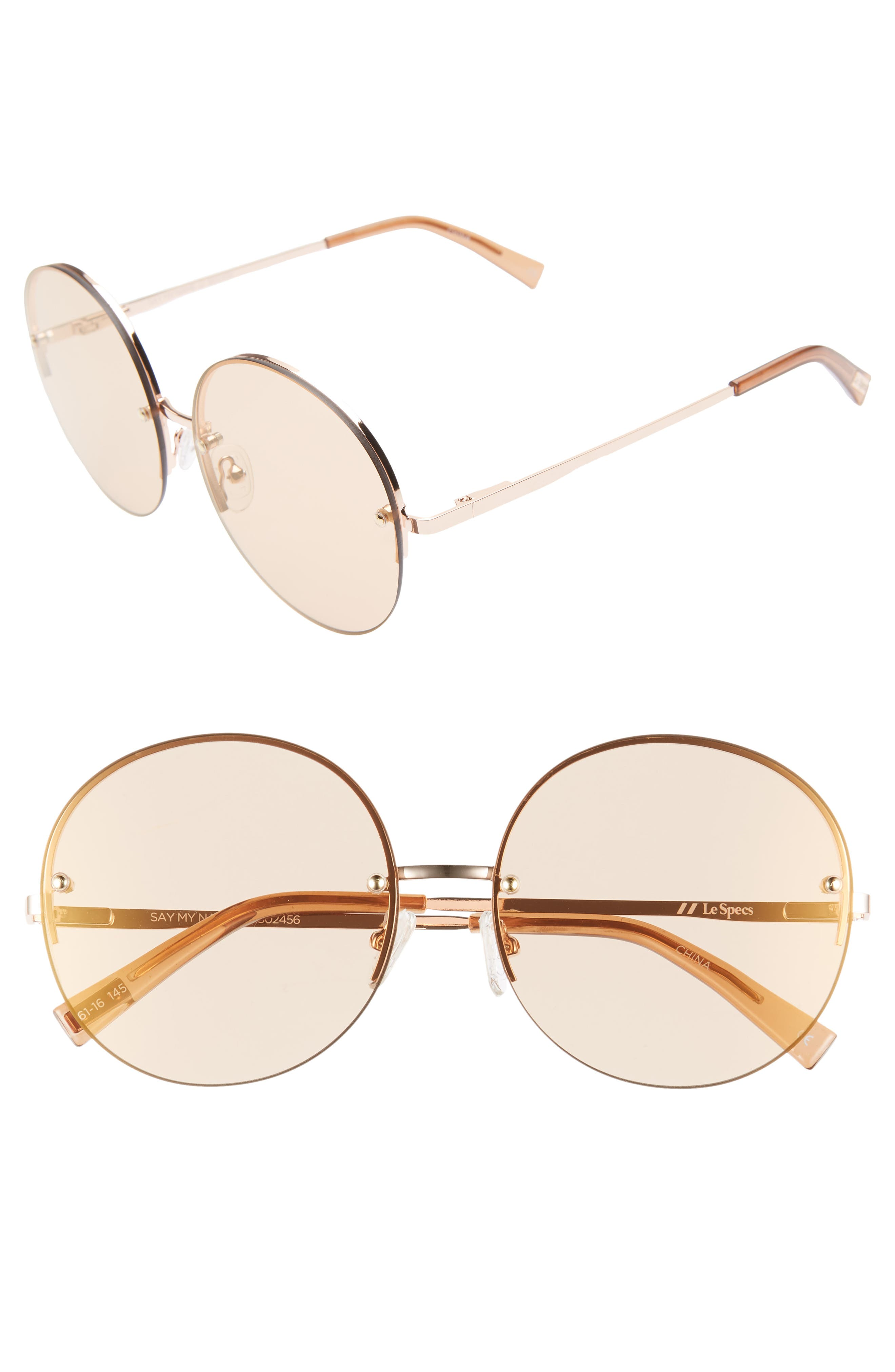 Le Specs Say My Name 61Mm Semi Rimless Round Sunglasses - Rose Gold