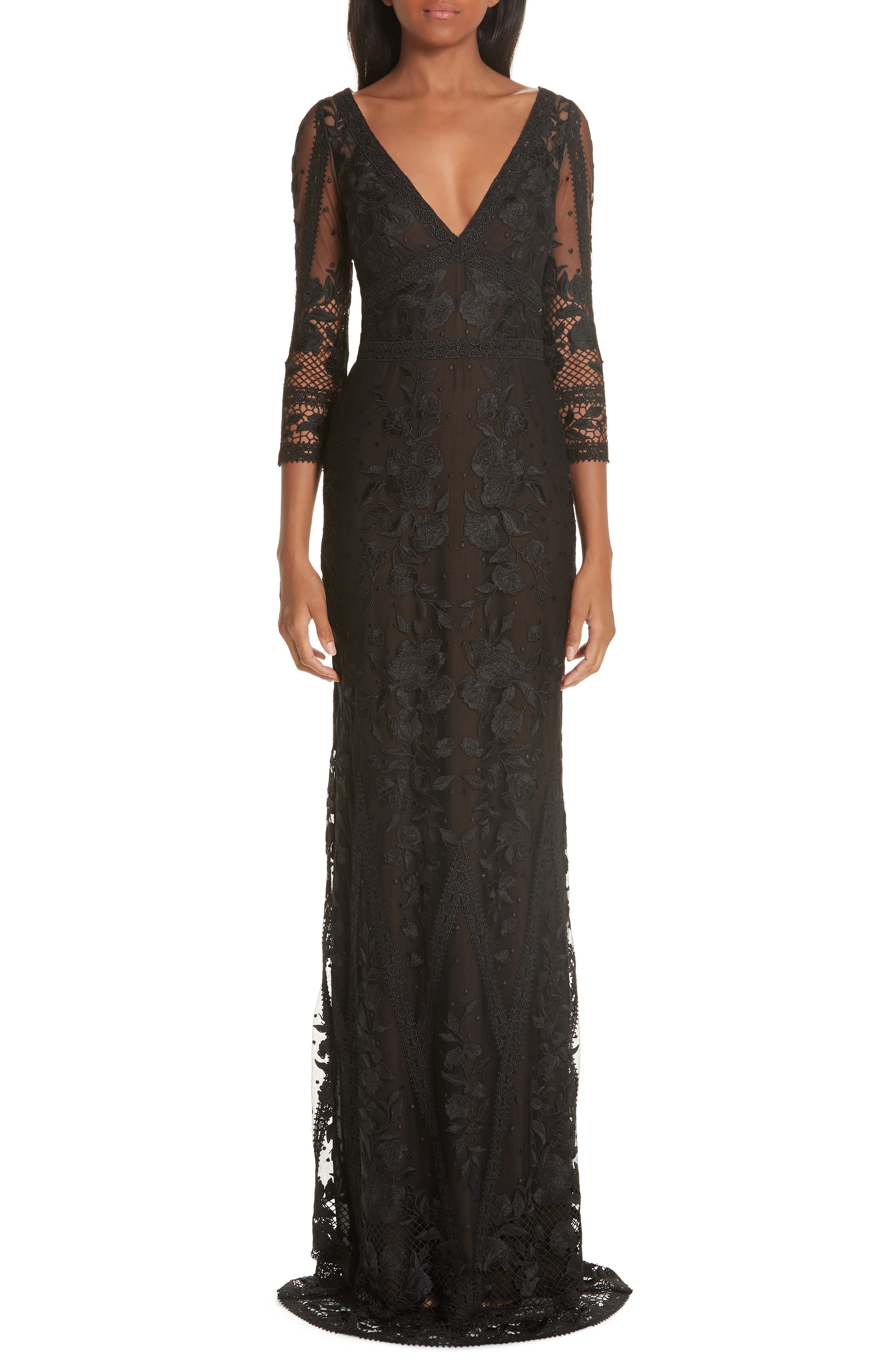 Marchesa Notte Mesh & Lace Evening Dress