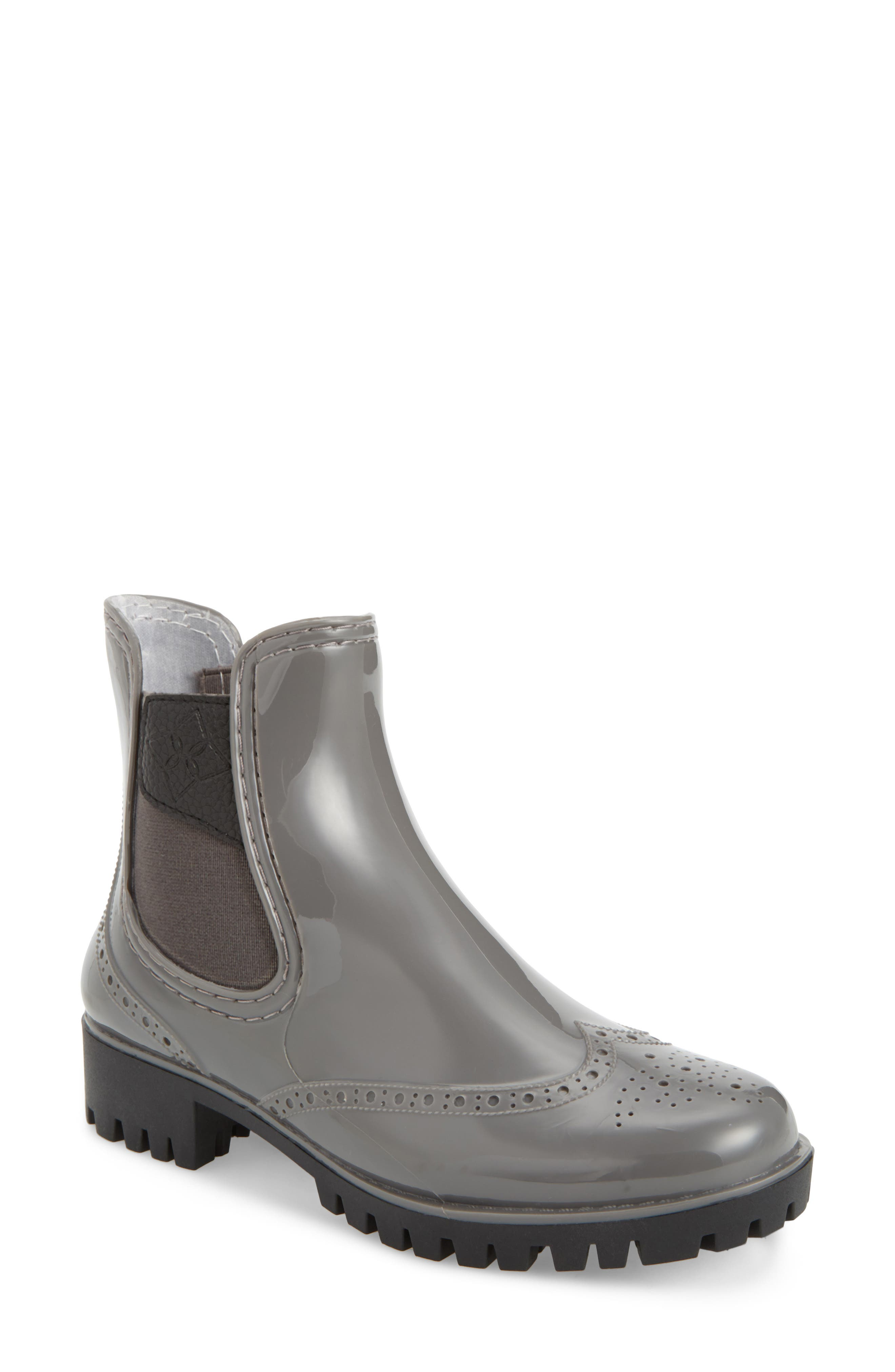 Dav Leeds Brogue Rain Boot, Grey