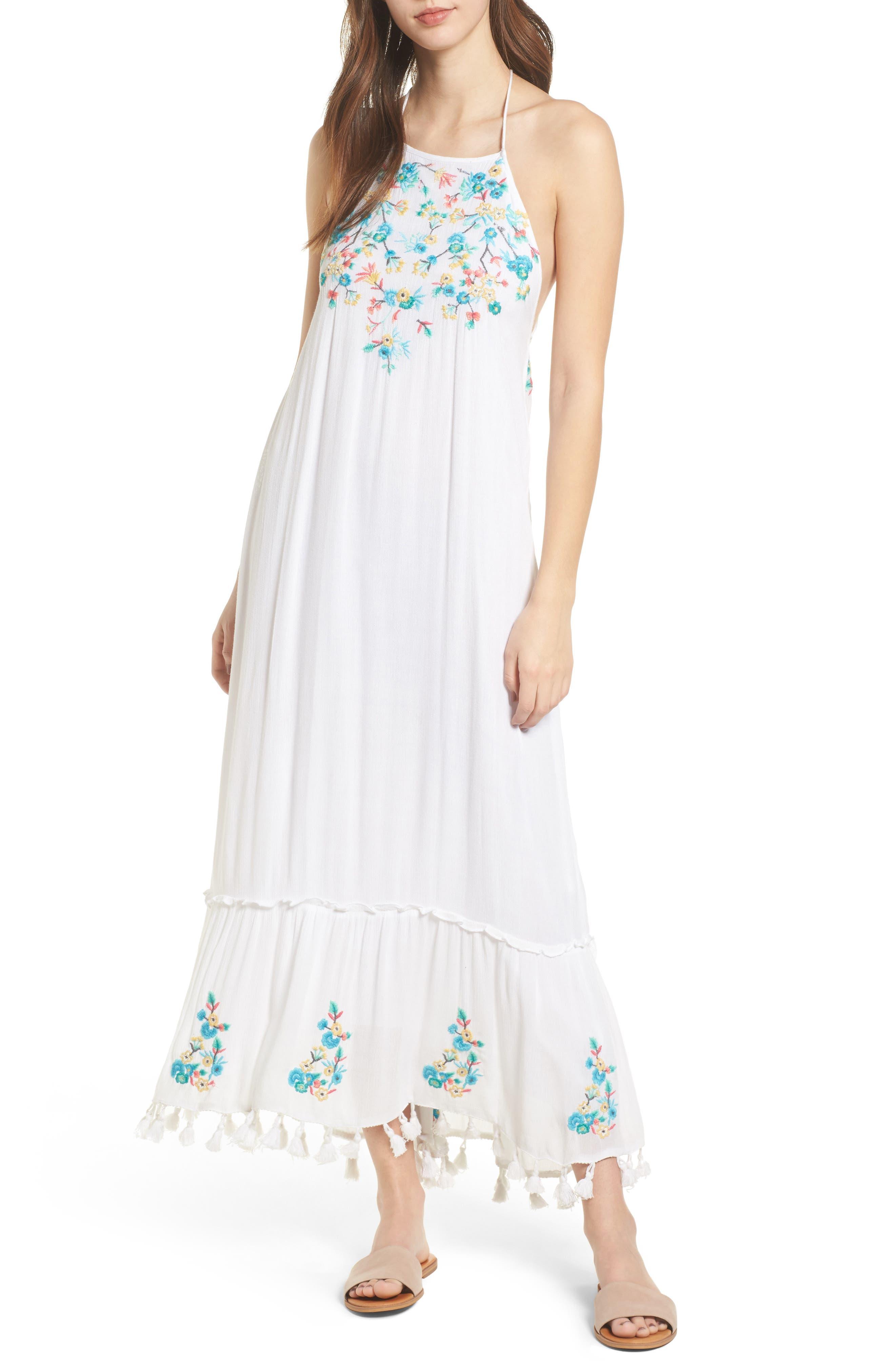 Ashlyn Embroidered Tassel Trim Maxi Dress,                         Main,                         color, 100