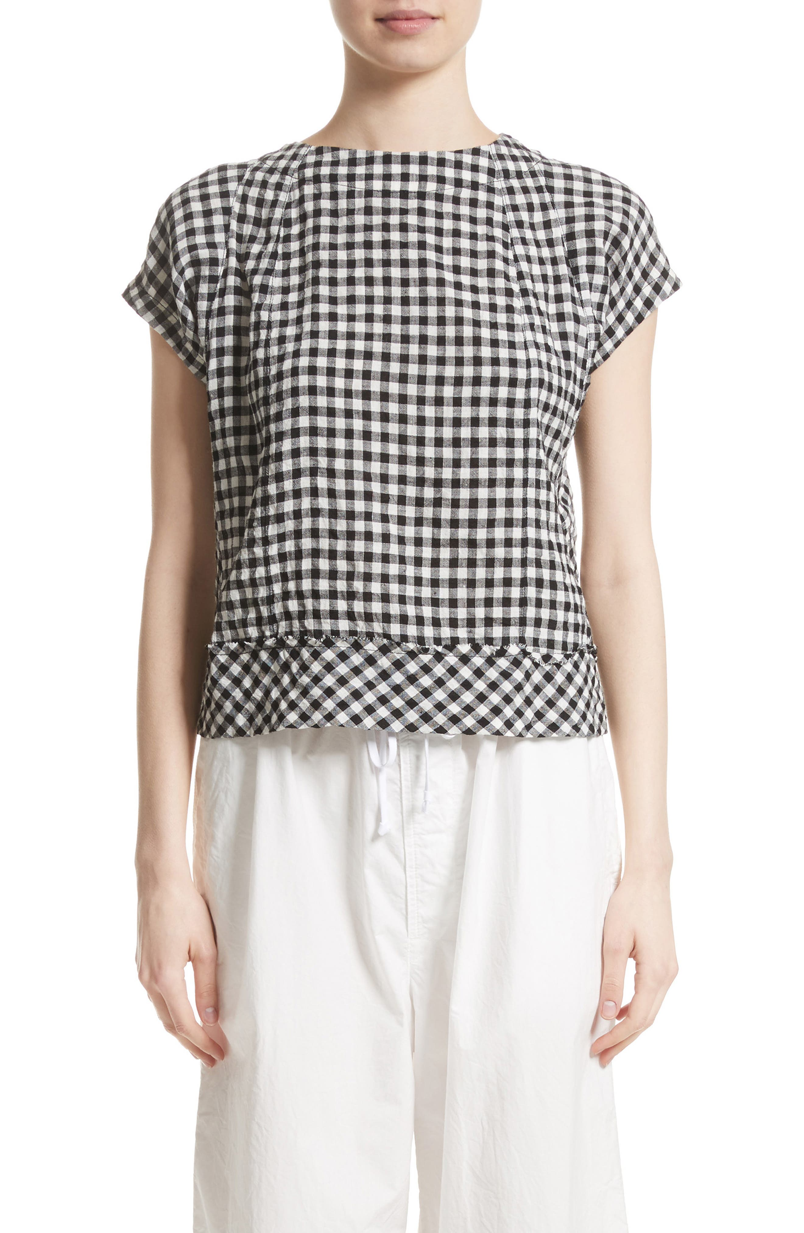 Gingham Check Blouse,                         Main,                         color, 001