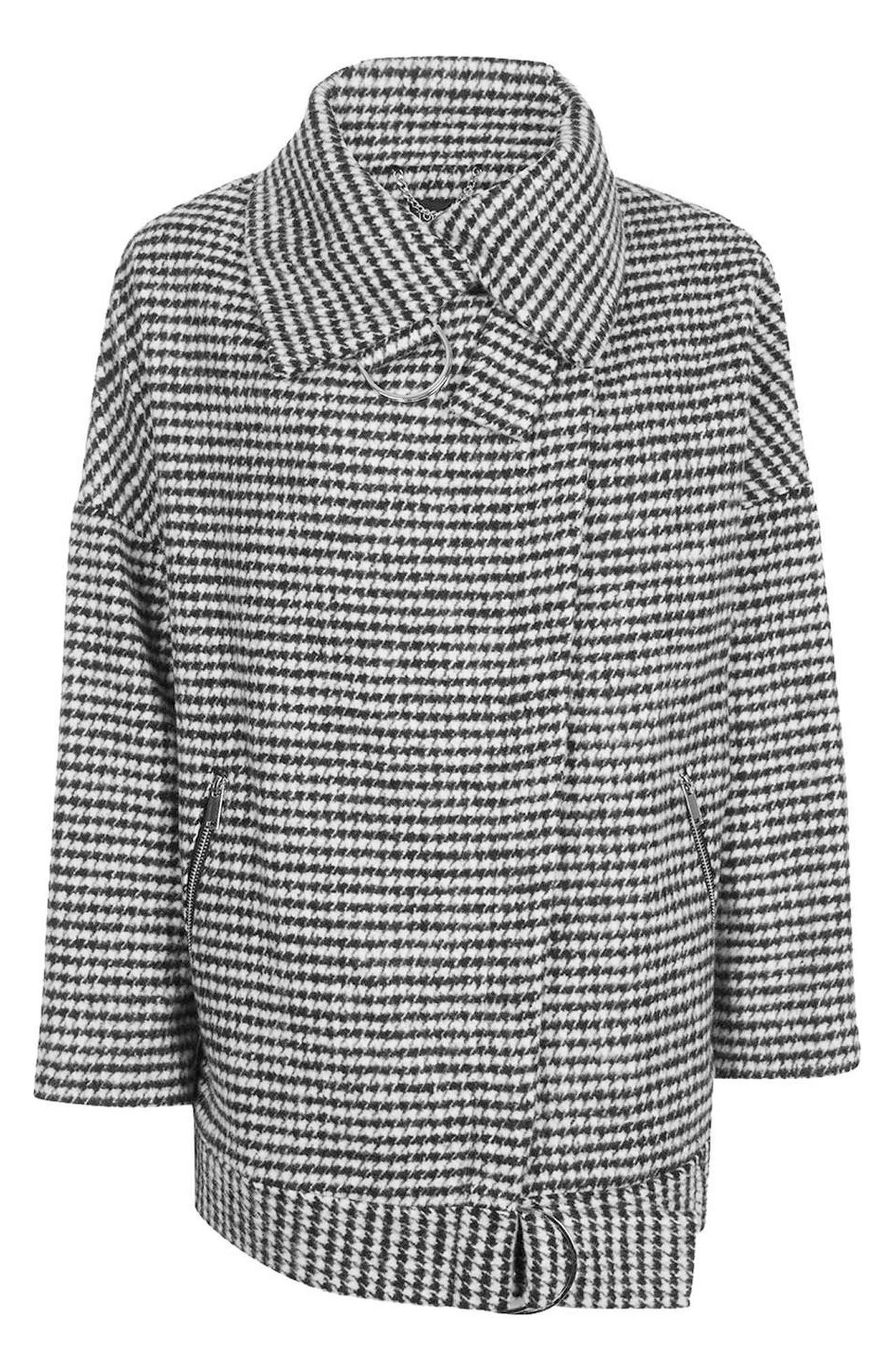 Funnel Neck Houndstooth Coat,                             Alternate thumbnail 4, color,                             001
