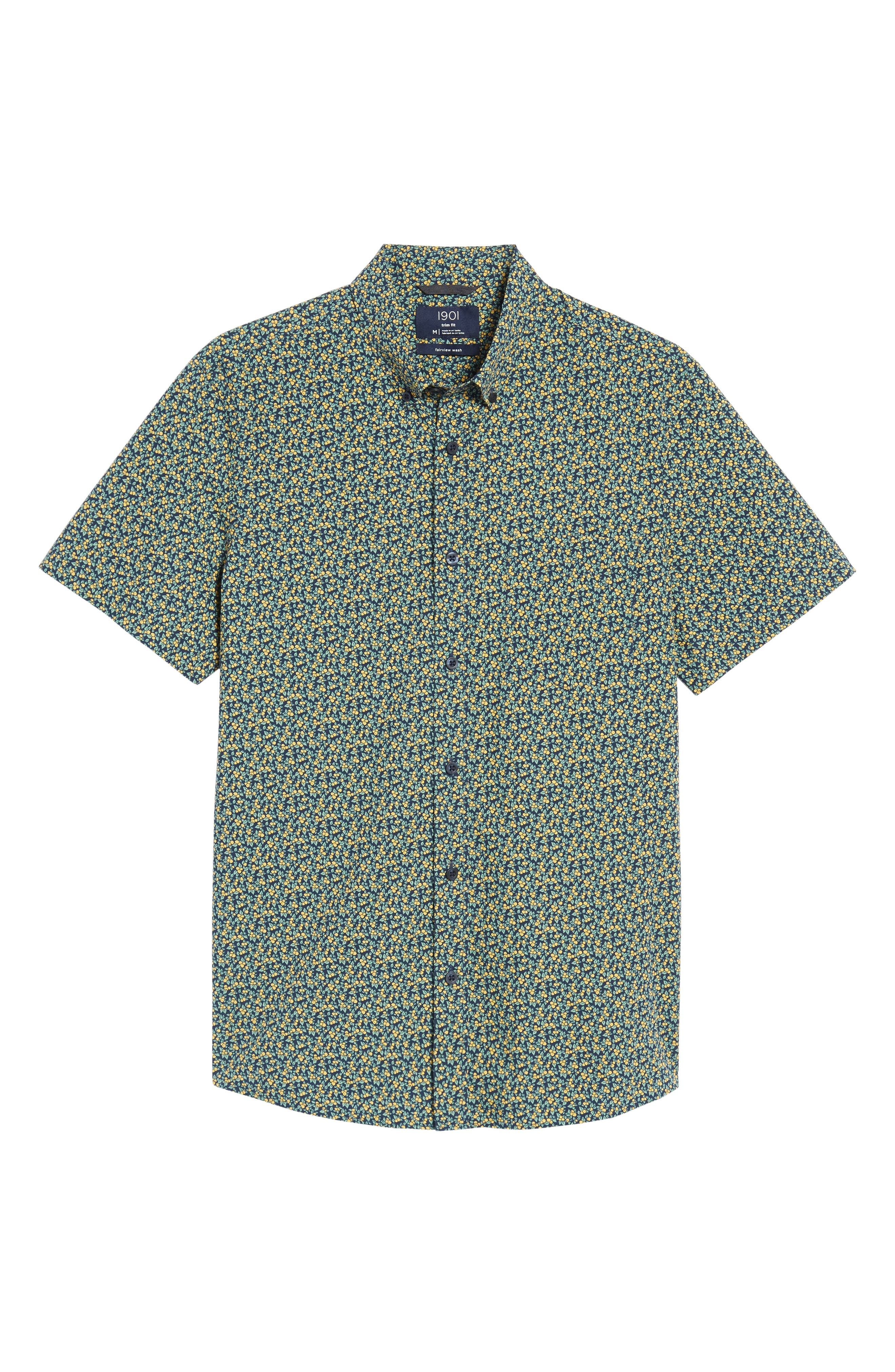 Trim Fit Lemon Print Sport Shirt,                             Alternate thumbnail 6, color,                             410