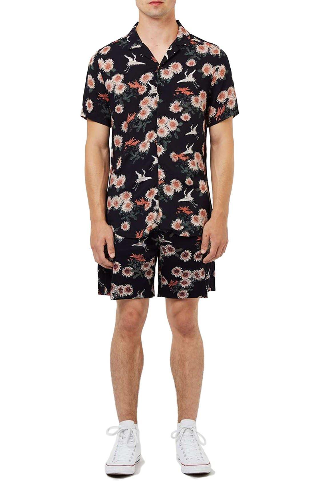 Floral Print Revere Collar Short Sleeve Shirt,                             Alternate thumbnail 5, color,                             001