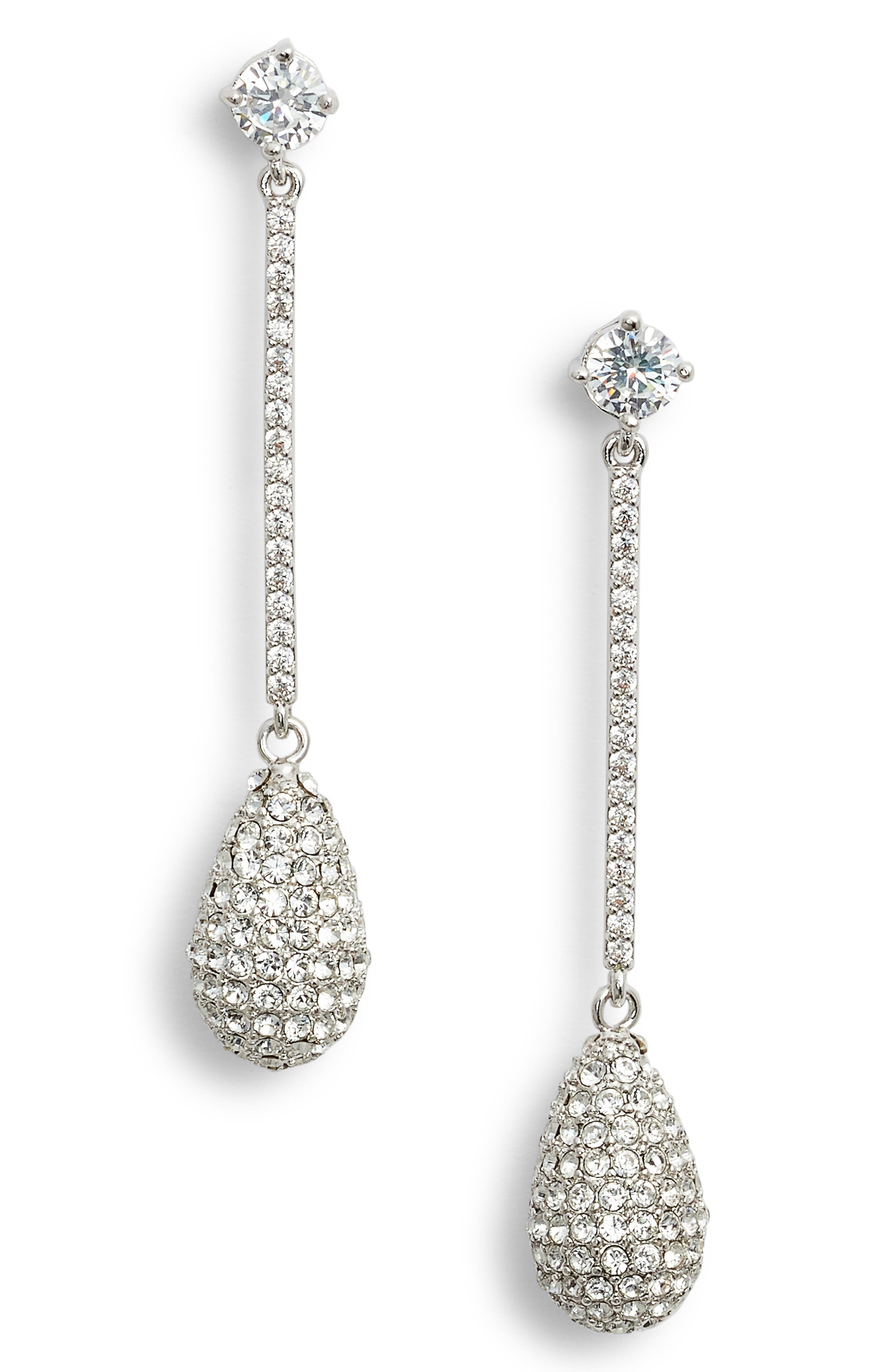 Swarovski Crystal Teardrop Earrings,                             Main thumbnail 1, color,                             WHITE/ SILVER