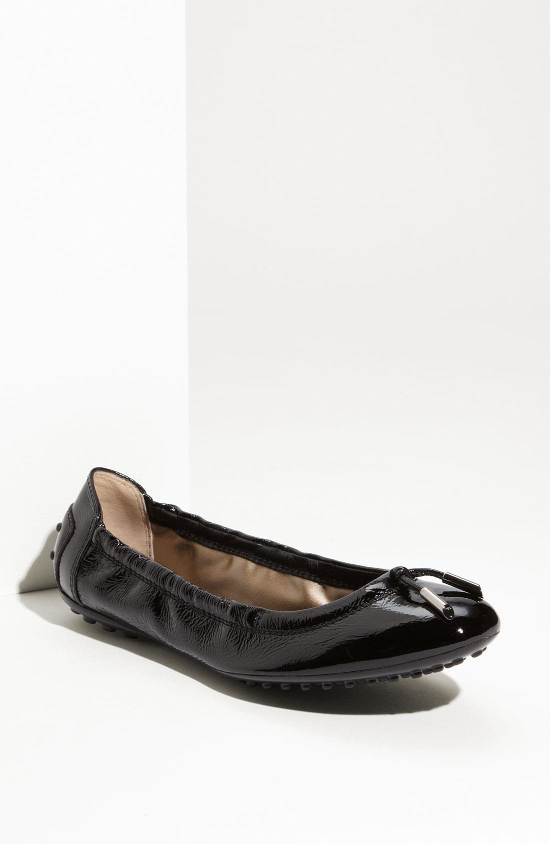 Bow Trim Patent Leather Flat,                             Main thumbnail 1, color,                             001
