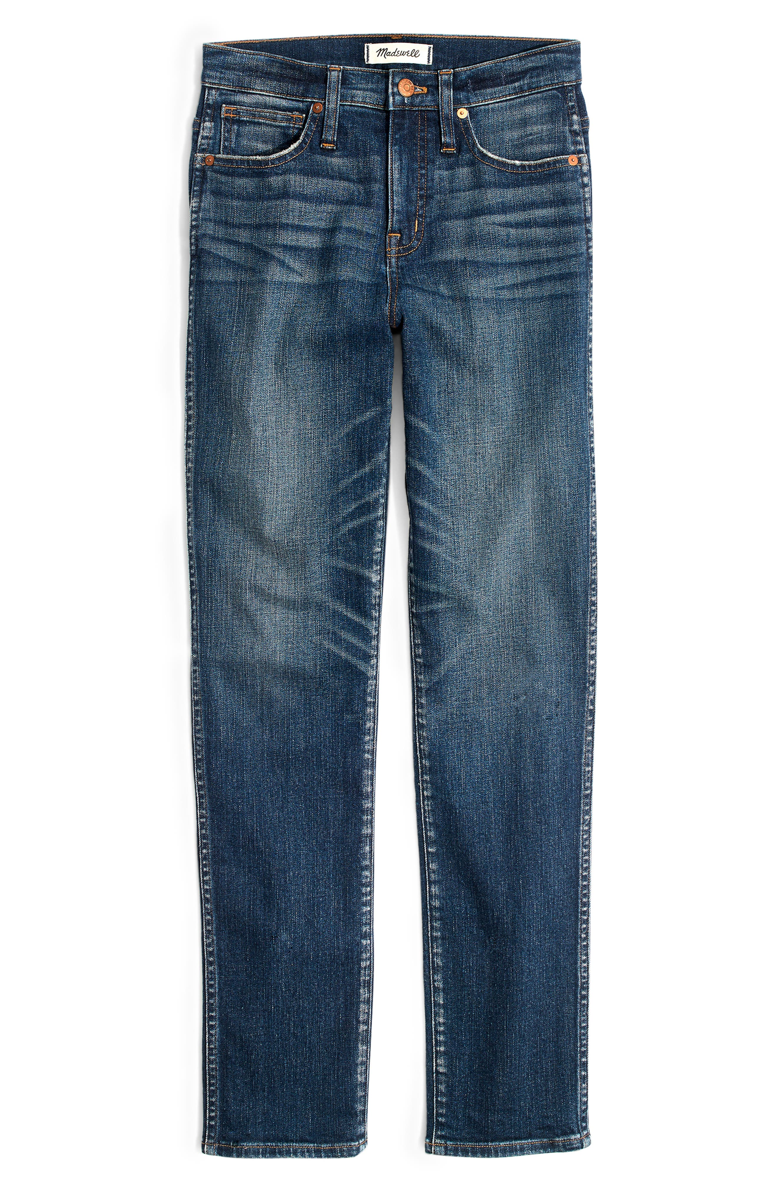 High Waist Slim Straight Leg Jeans,                             Alternate thumbnail 7, color,                             HAMMOND
