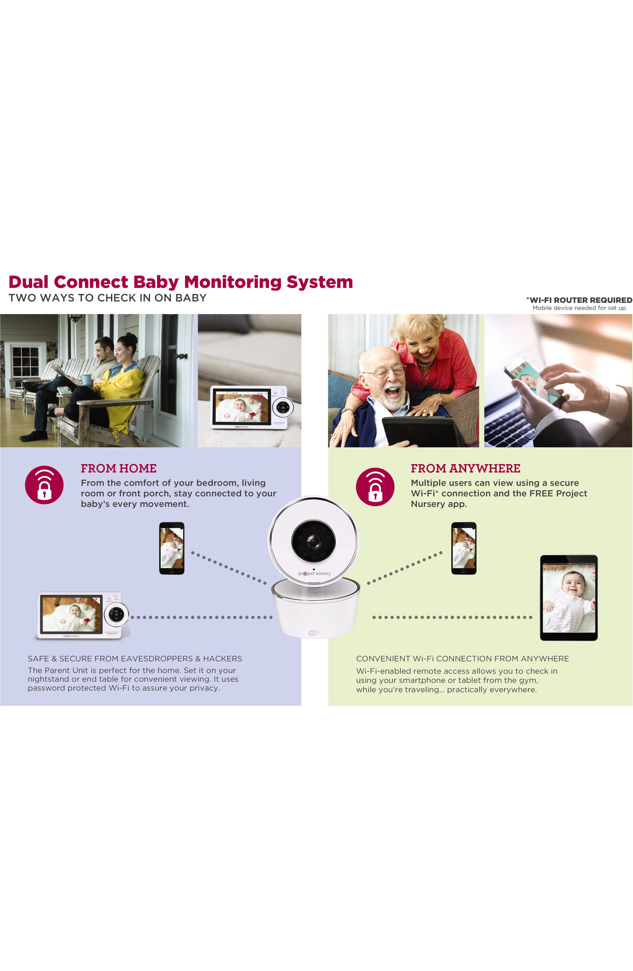 Dual Connect Baby Monitor System,                             Alternate thumbnail 5, color,                             WHITE