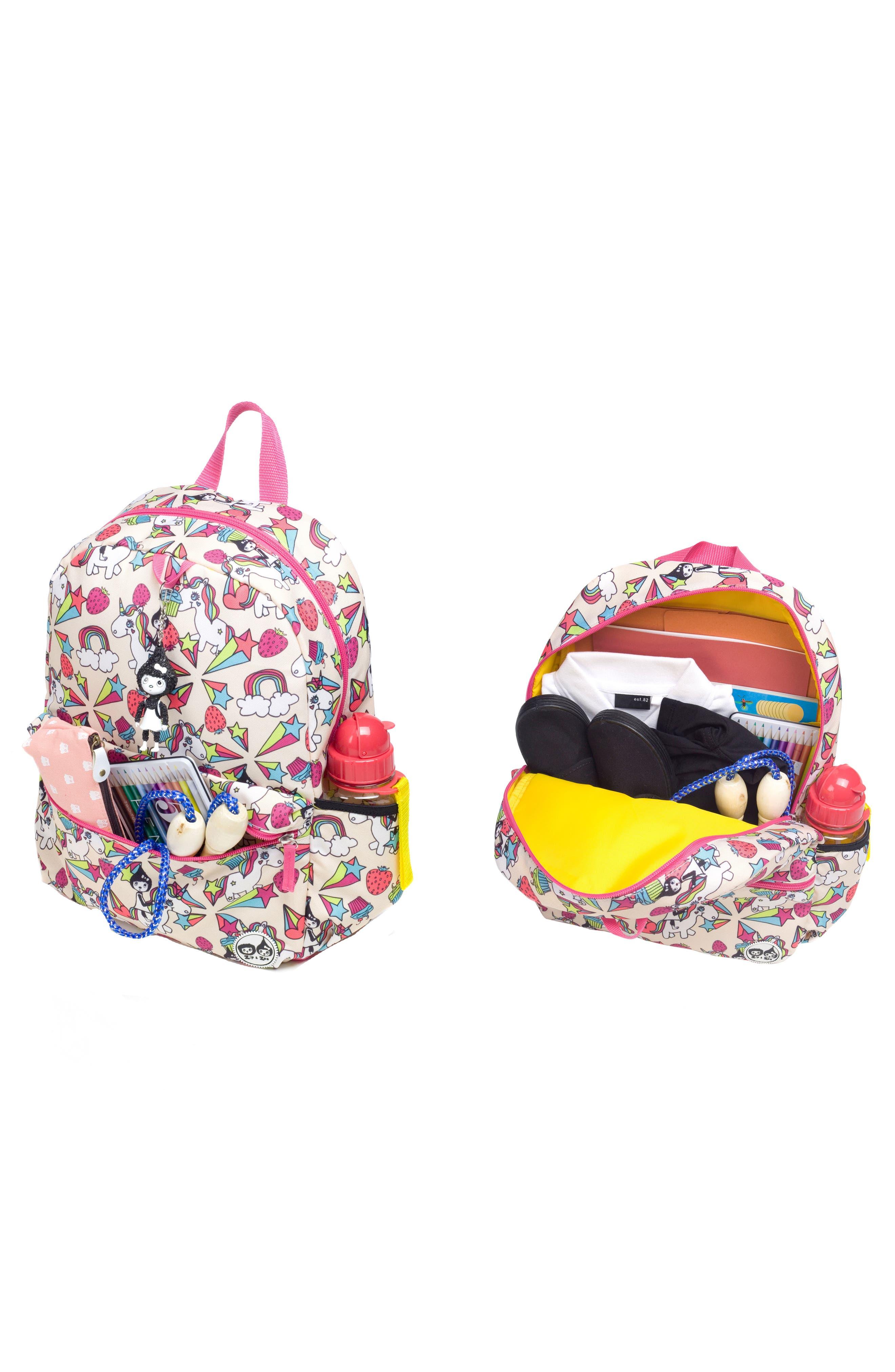 Zip & Zoe Unicorn Junior Backpack,                             Alternate thumbnail 6, color,                             WHITE