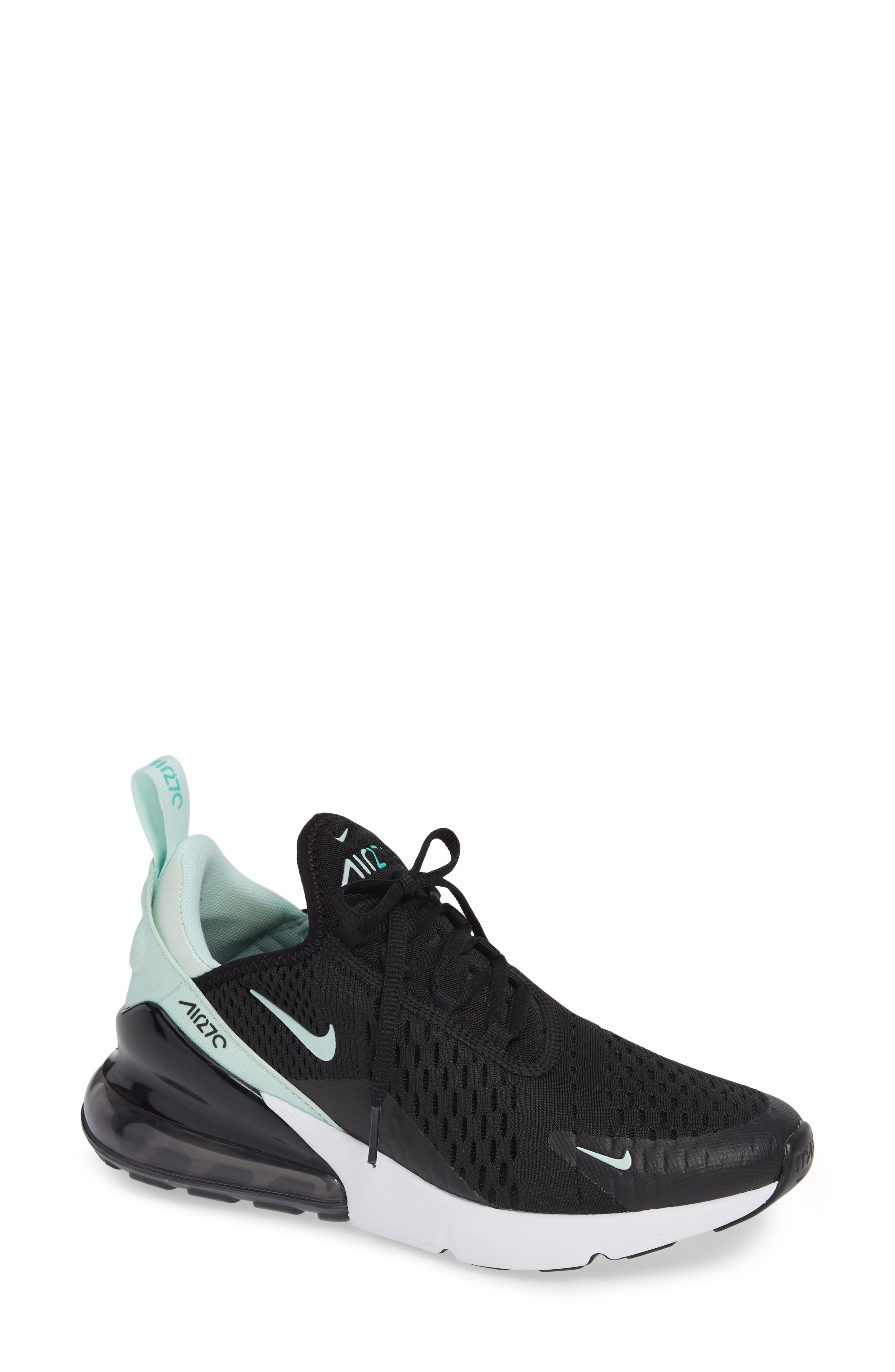 Air Max 270 Premium Sneaker,                             Main thumbnail 1, color,                             BLACK/ IGLOO TURQUOISE WHITE