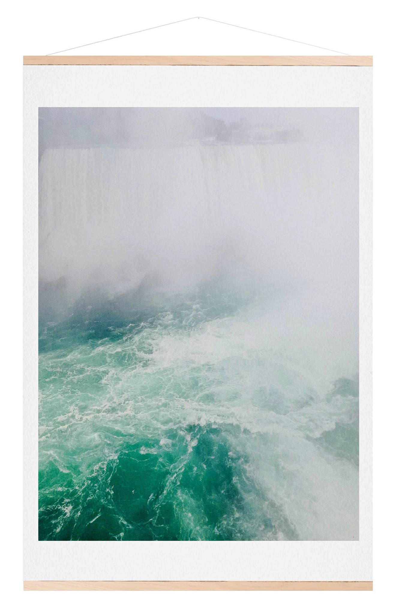 The Falls Print & Oak Hanger,                             Main thumbnail 1, color,                             GREEN