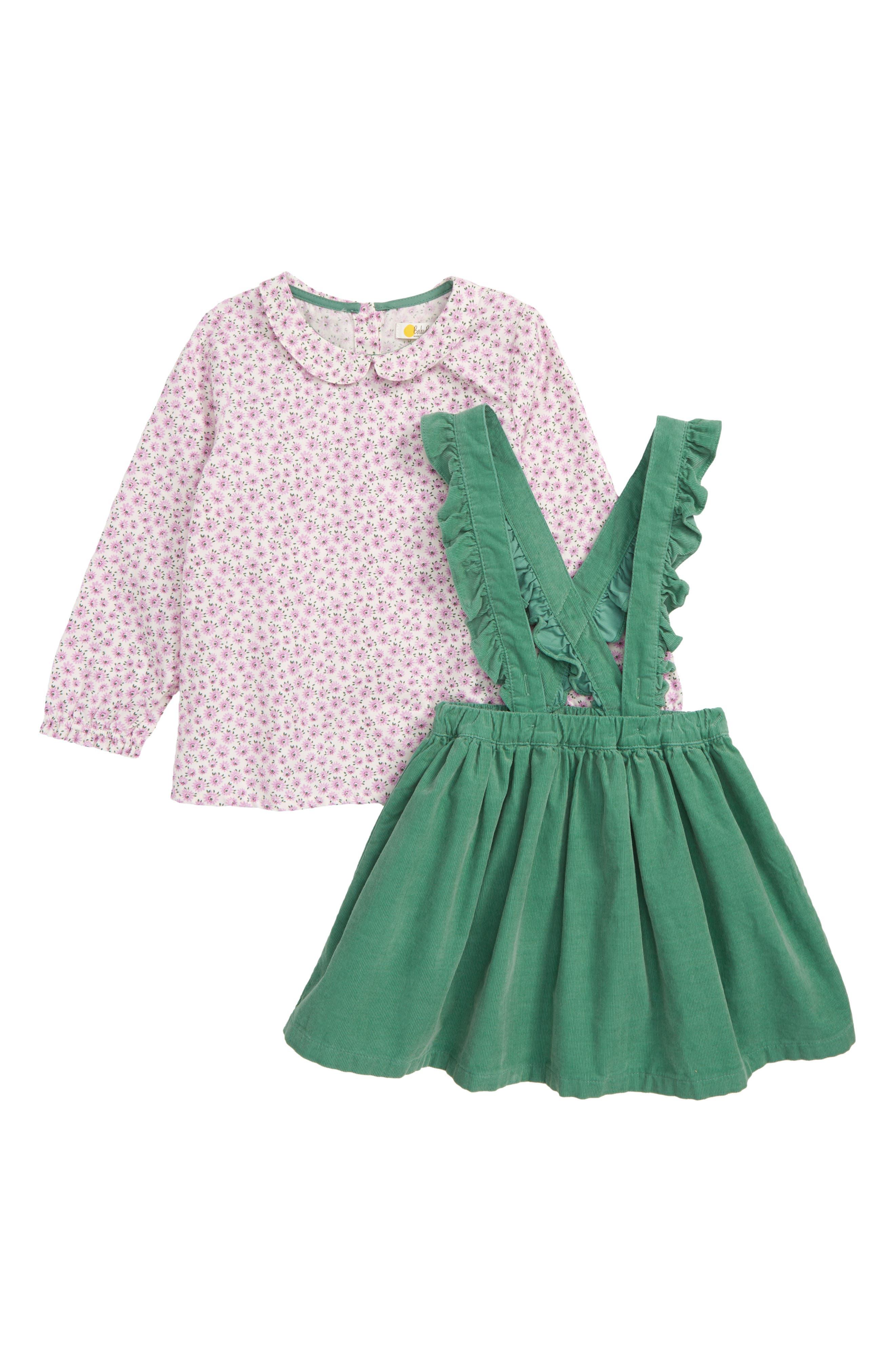 Toddler Girls Mini Boden Nostalgic Print Top  Overall Skirt