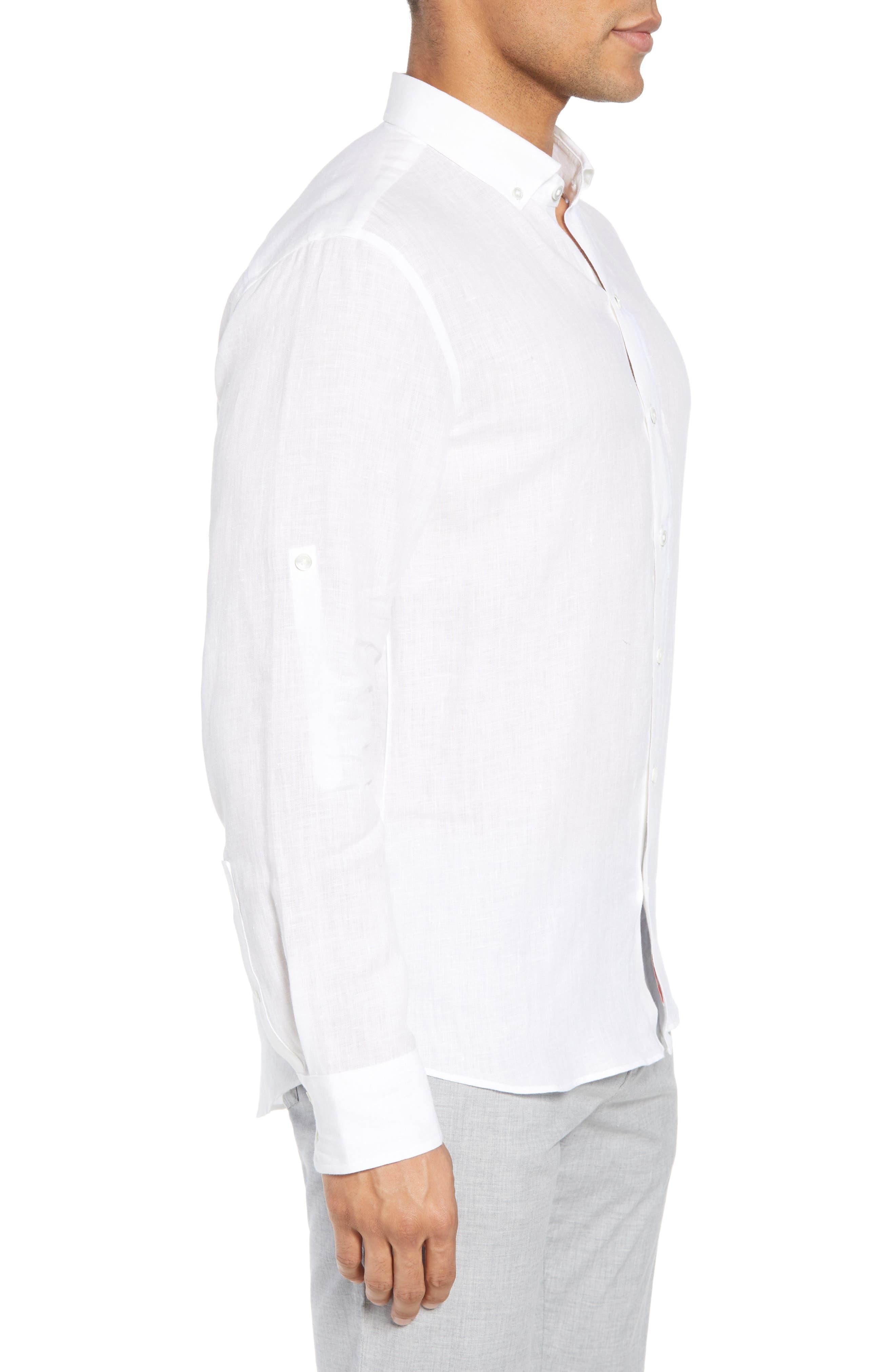 Yang Linen Sport Shirt,                             Alternate thumbnail 3, color,                             WHITE