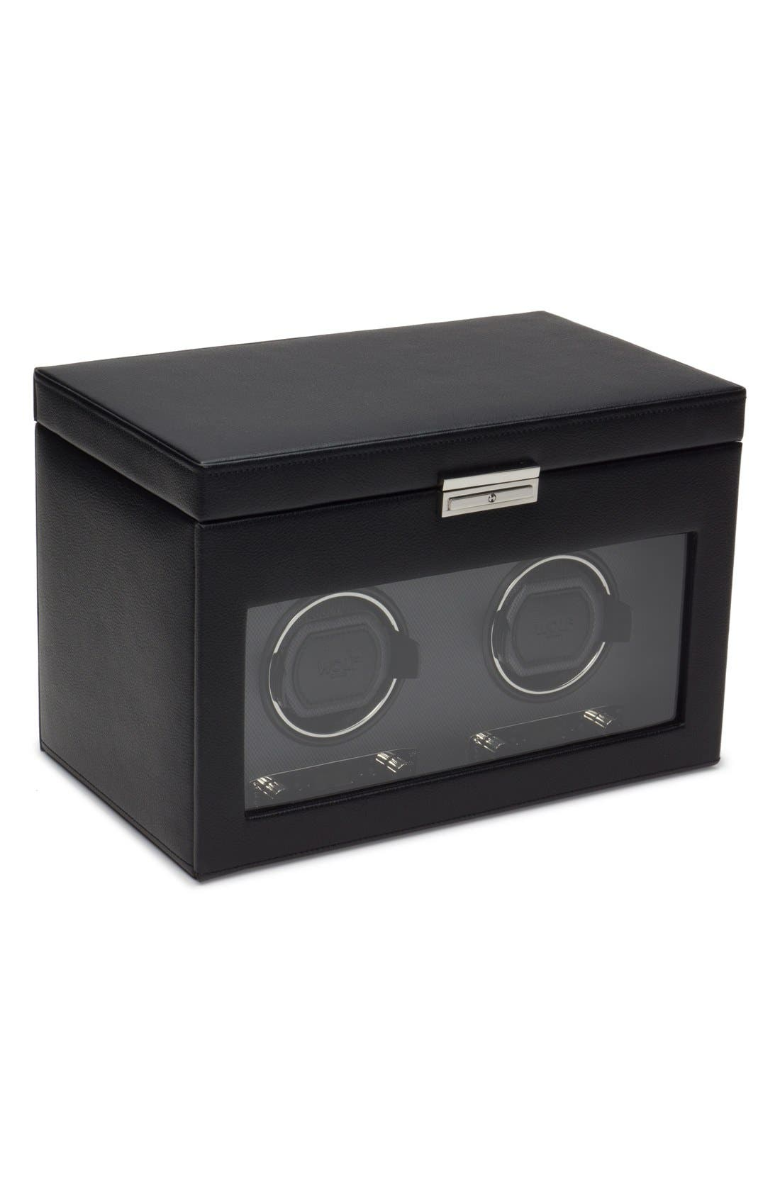 Viceroy Double Watch Winder & Storage Space,                             Main thumbnail 1, color,                             BLACK