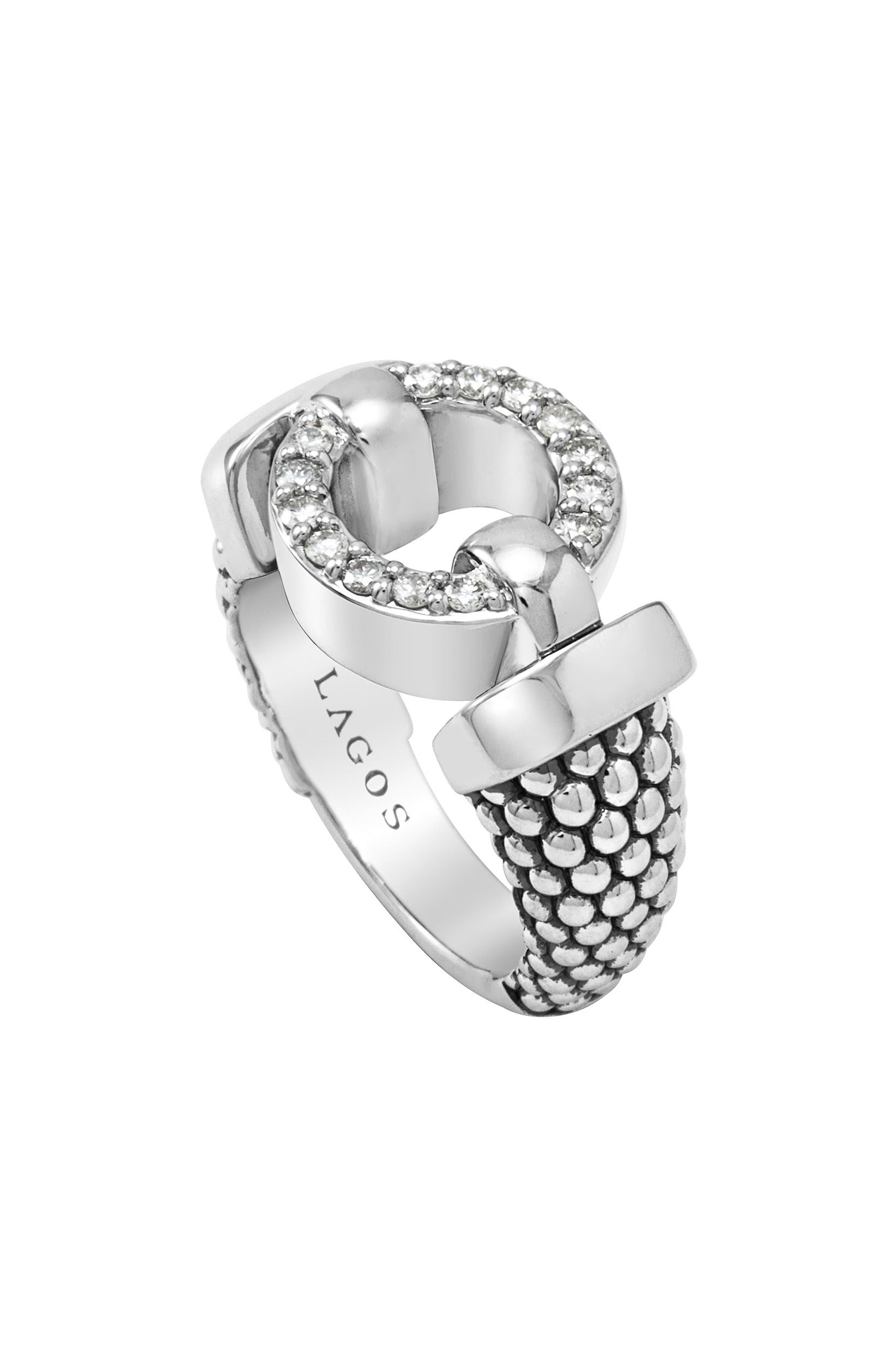 'Enso - Circle Game' Diamond Caviar Ring,                             Main thumbnail 1, color,                             040