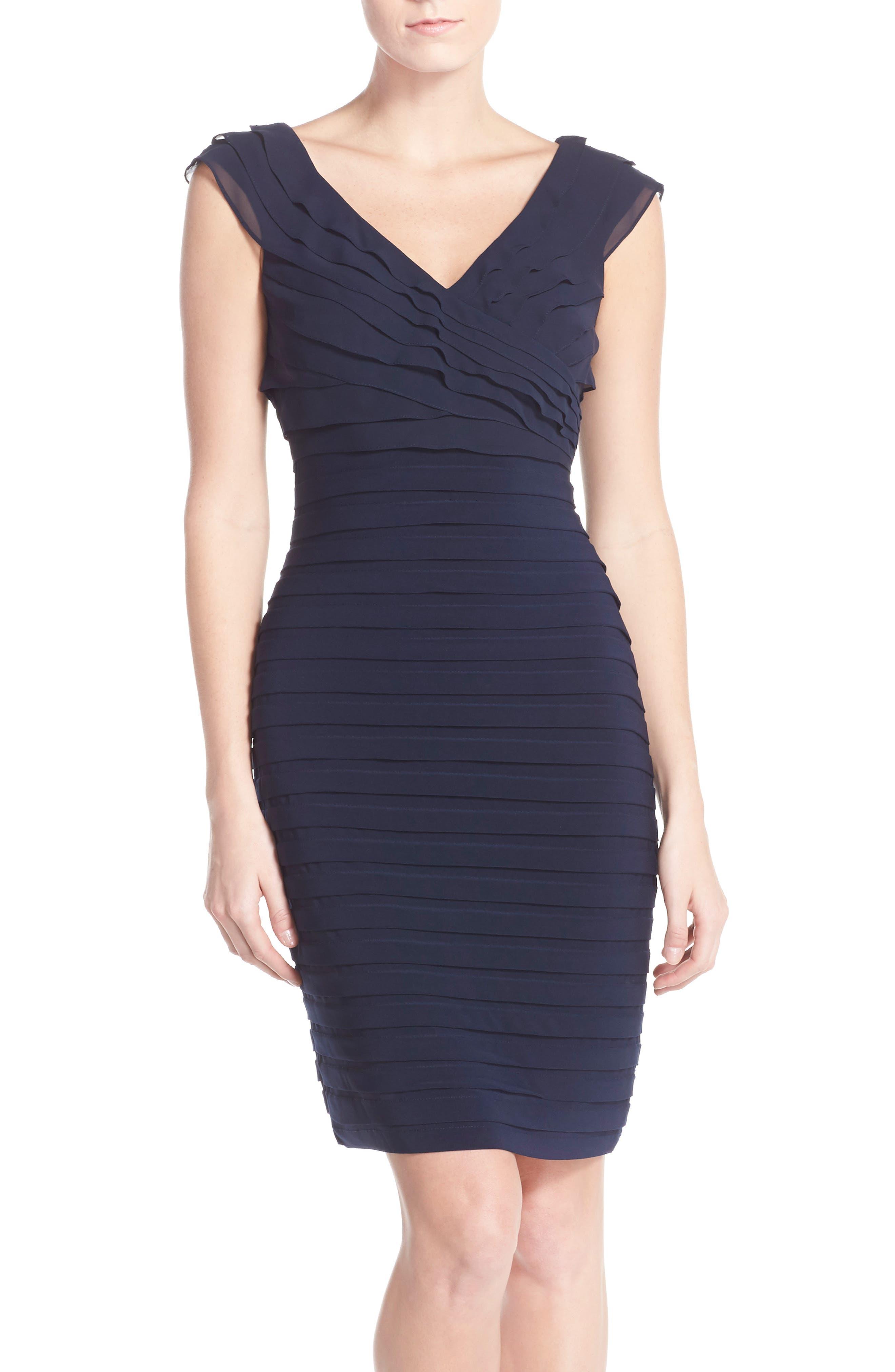 Chiffon & Jersey Sheath Dress,                             Alternate thumbnail 6, color,                             408