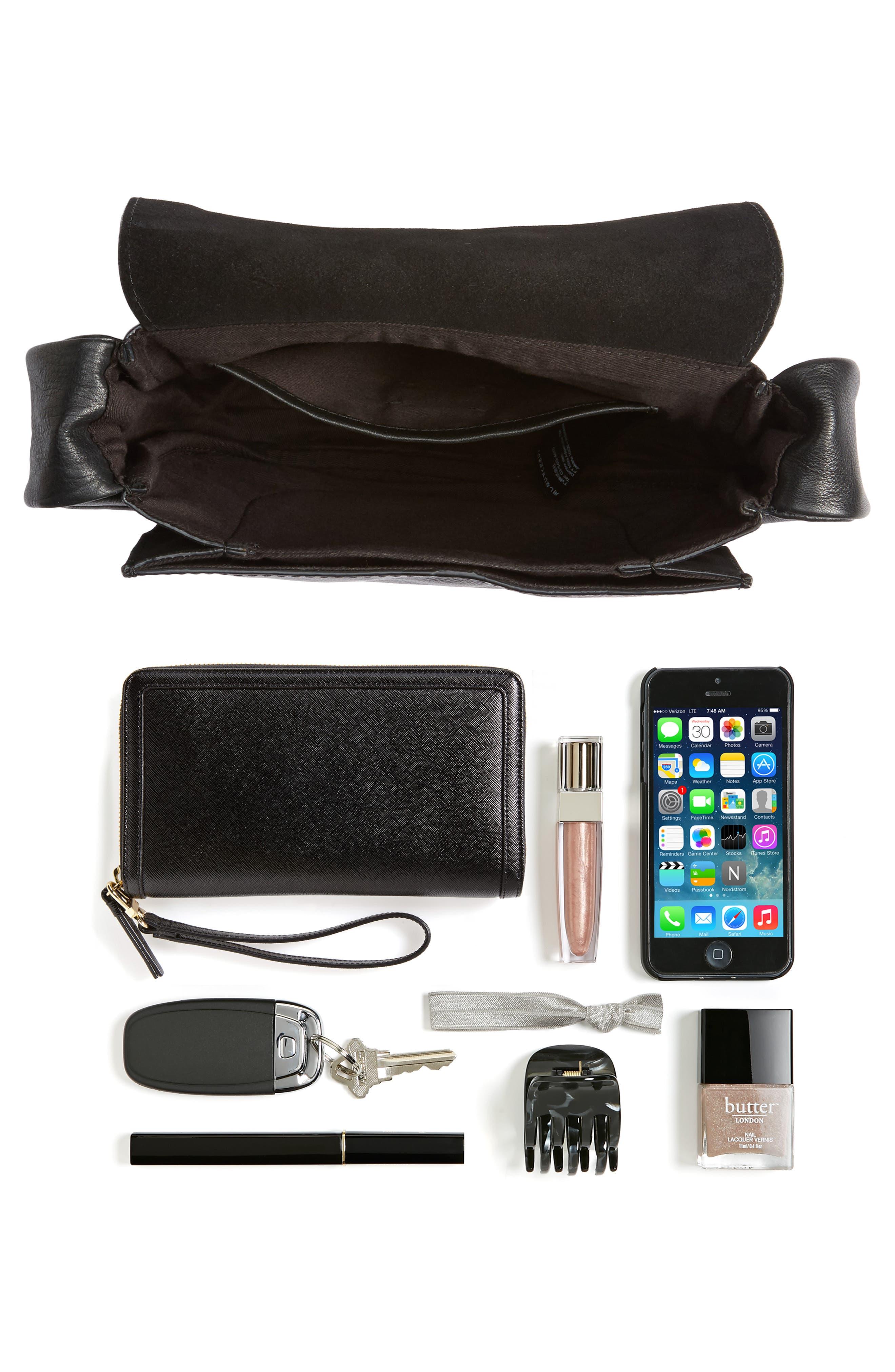 Jasmine Leather Saddle Bag,                             Alternate thumbnail 7, color,                             001