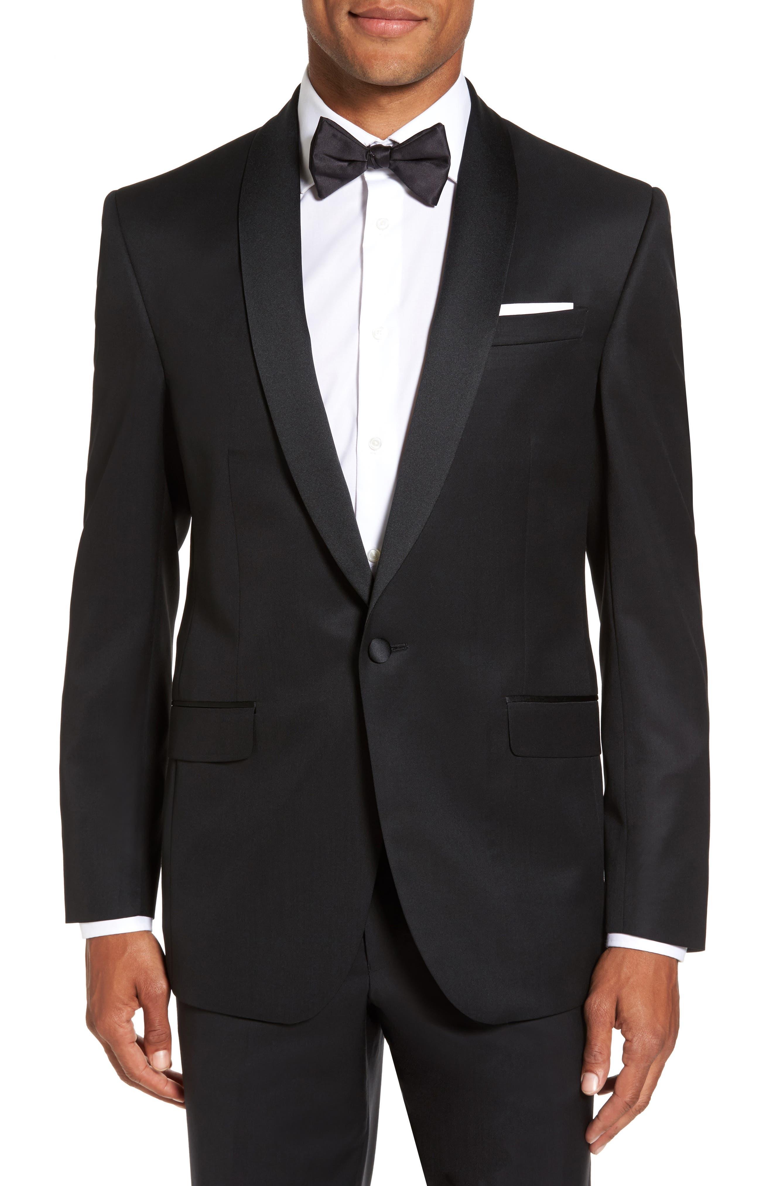 Trim Fit Wool & Mohair Dinner Jacket,                             Main thumbnail 1, color,                             BLACK