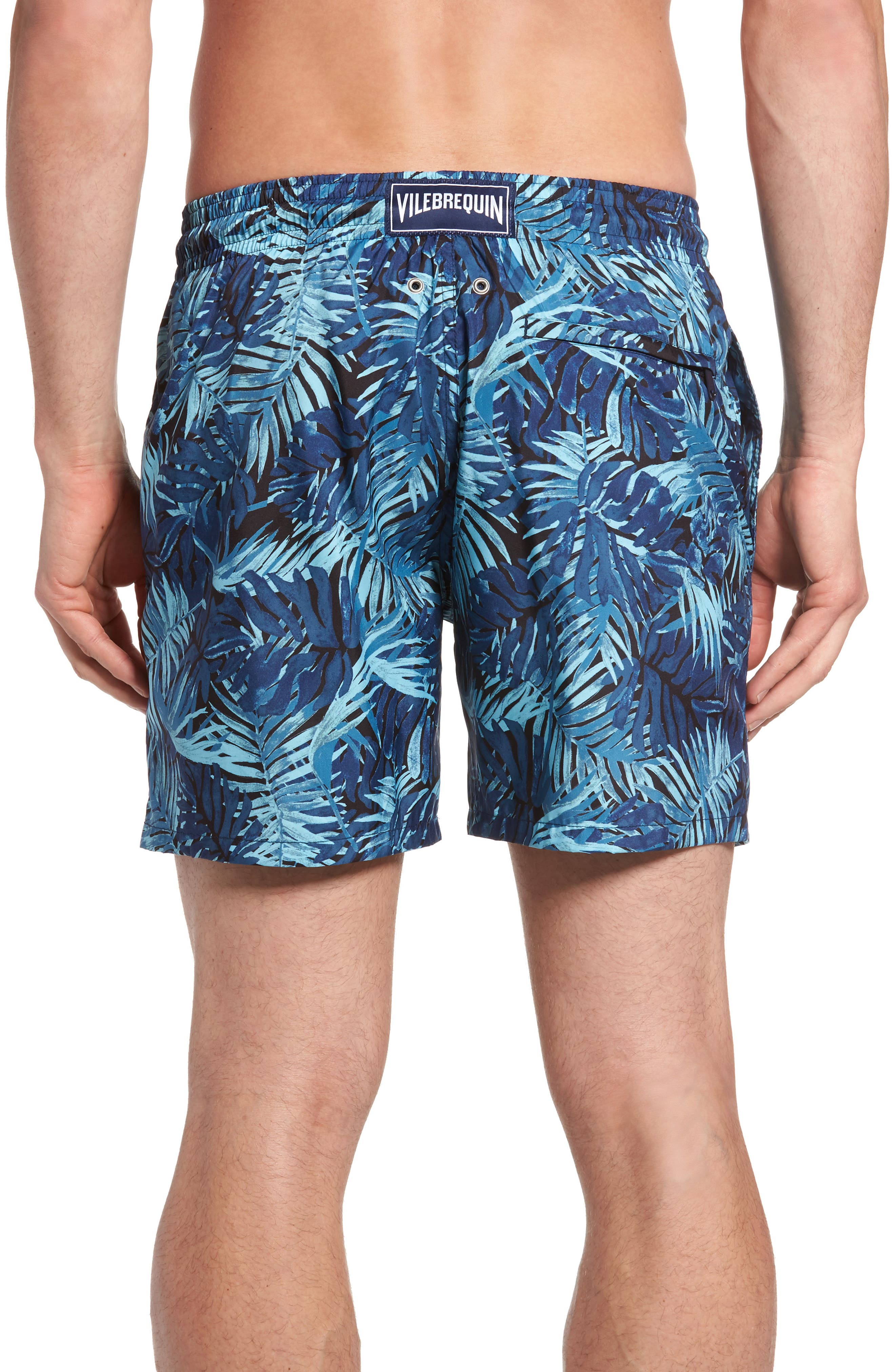 Mahina Madrague Print Packable Swim Trunks,                             Alternate thumbnail 2, color,                             NAVY BLUE