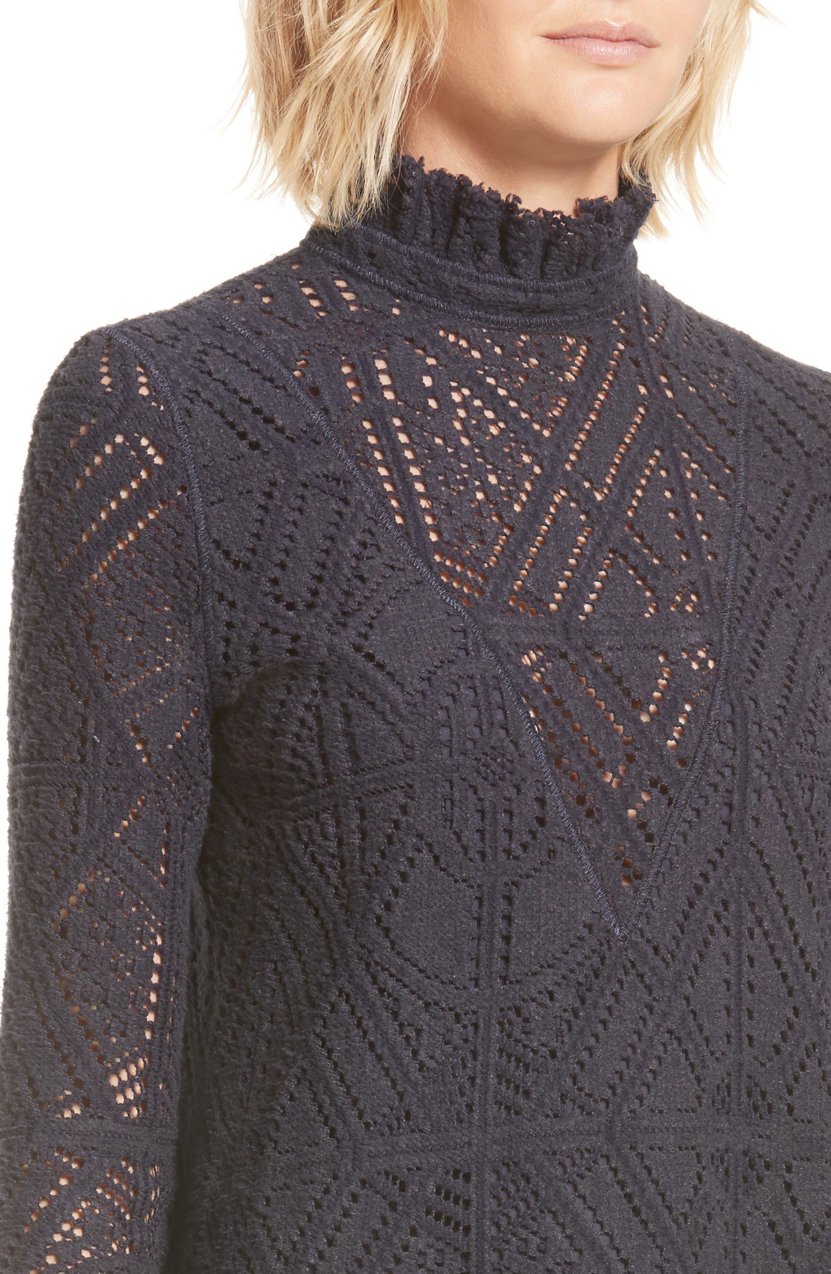 Lace Ruffle Hem Minidress,                             Alternate thumbnail 4, color,                             401