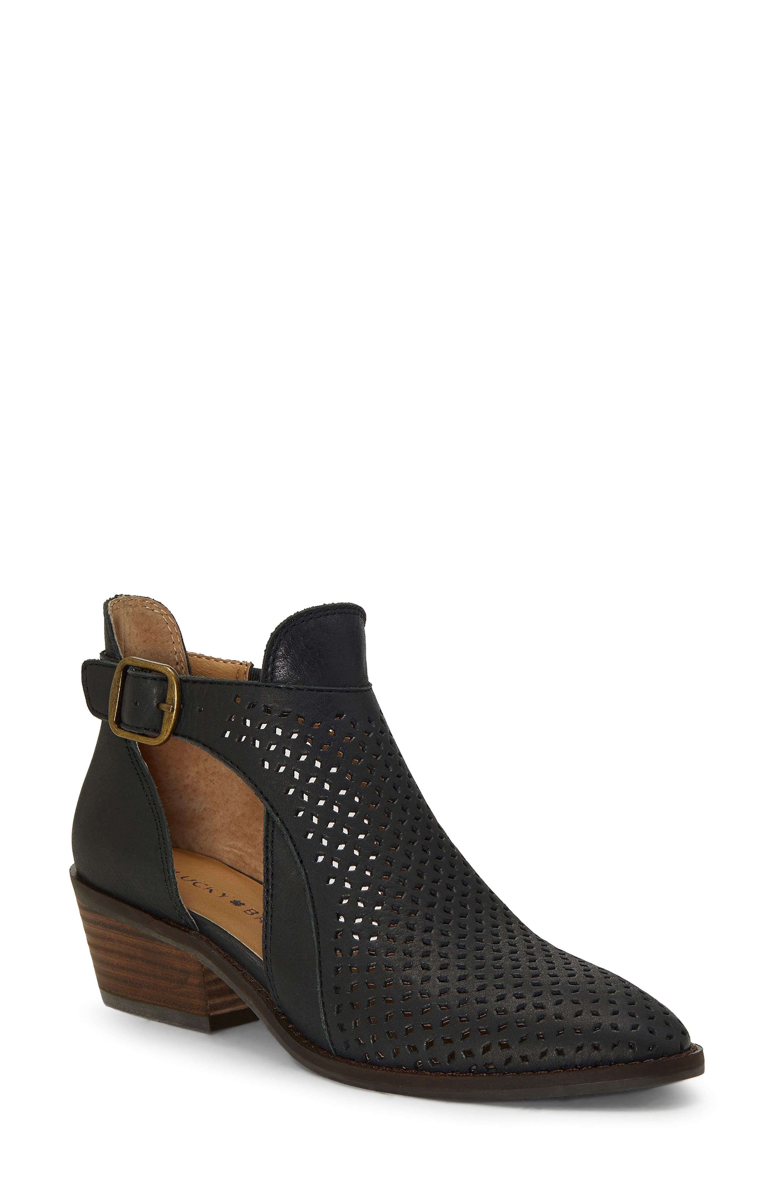 Fillian Bootie,                             Main thumbnail 1, color,                             BLACK LEATHER