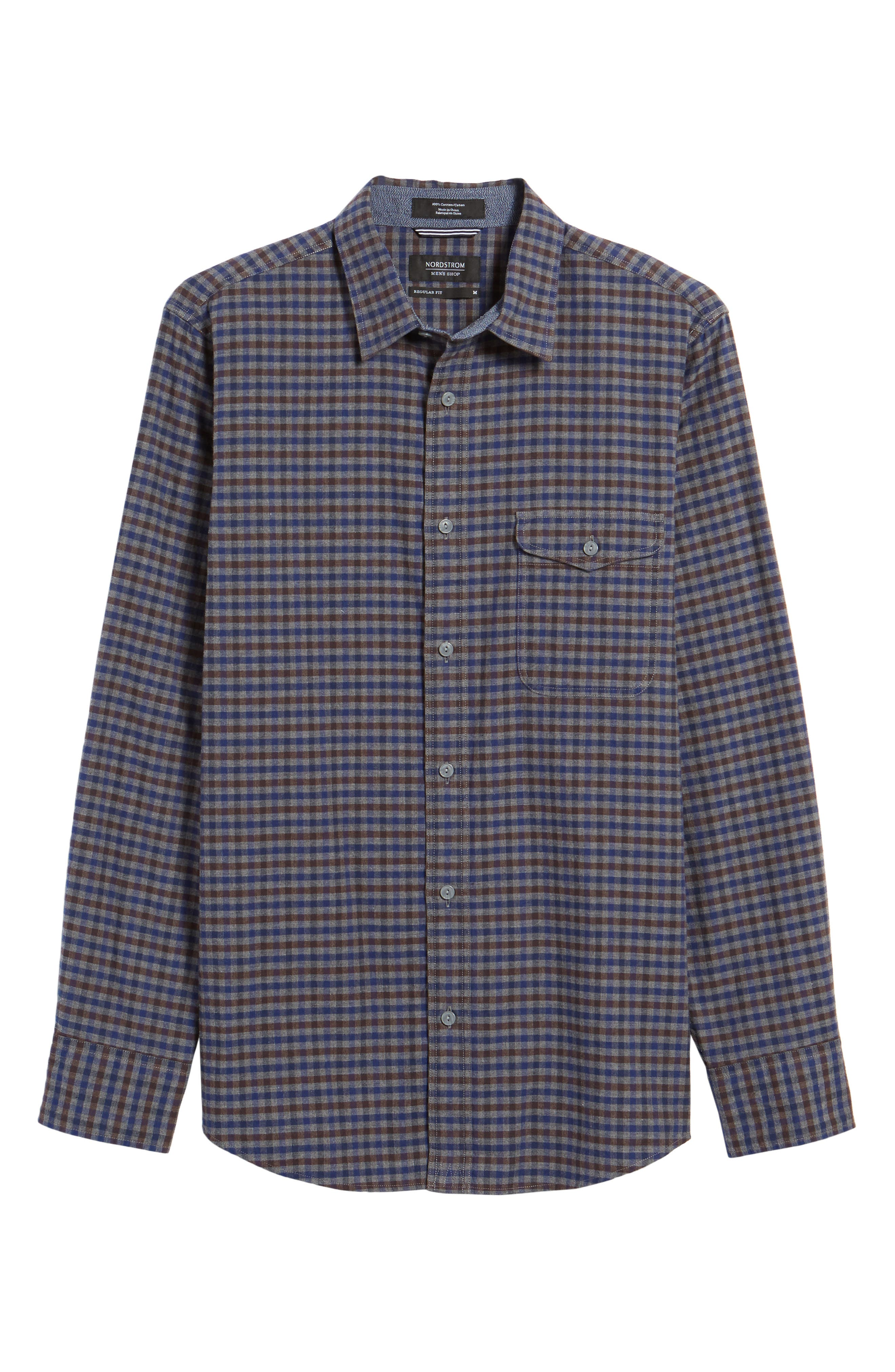 Regular Fit Lumber Check Flannel Shirt,                             Alternate thumbnail 6, color,                             030