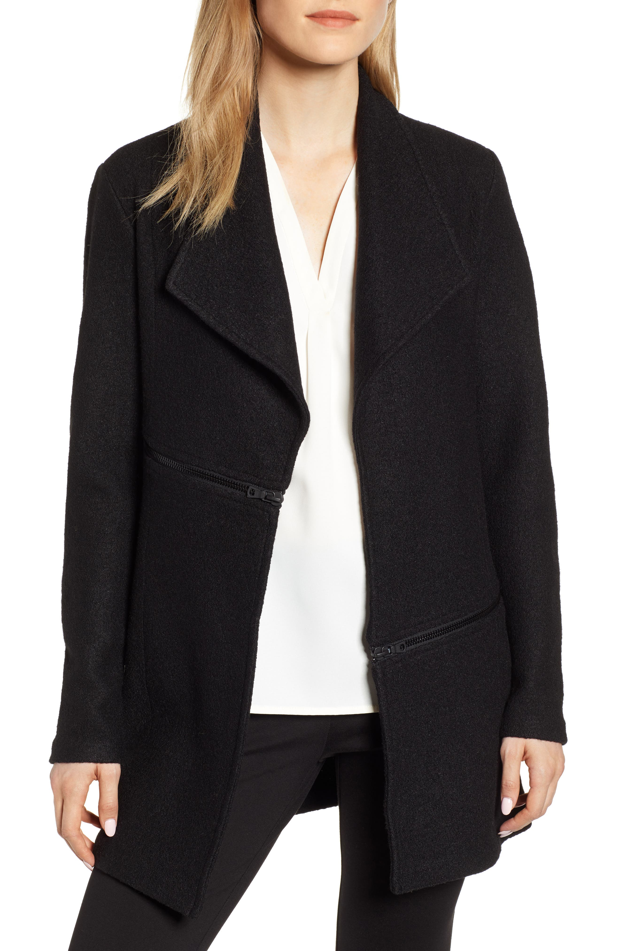 ANNE KLEIN Wing Collar Zip Detail Wool Blend Jacket in Anne Black