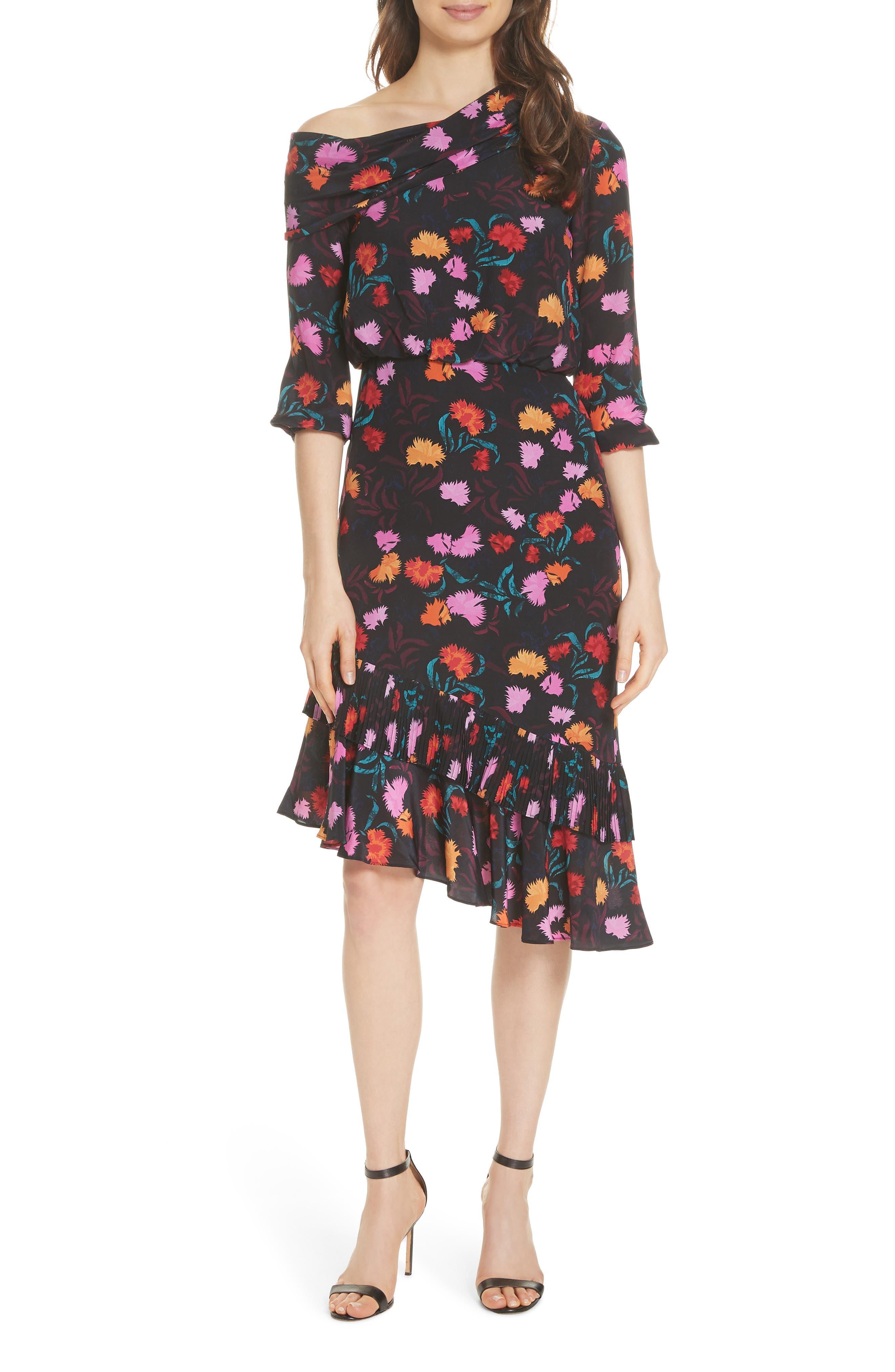 Lexie Floral Print Silk Off the Shoulder Dress,                         Main,                         color, BLACK AZALEA
