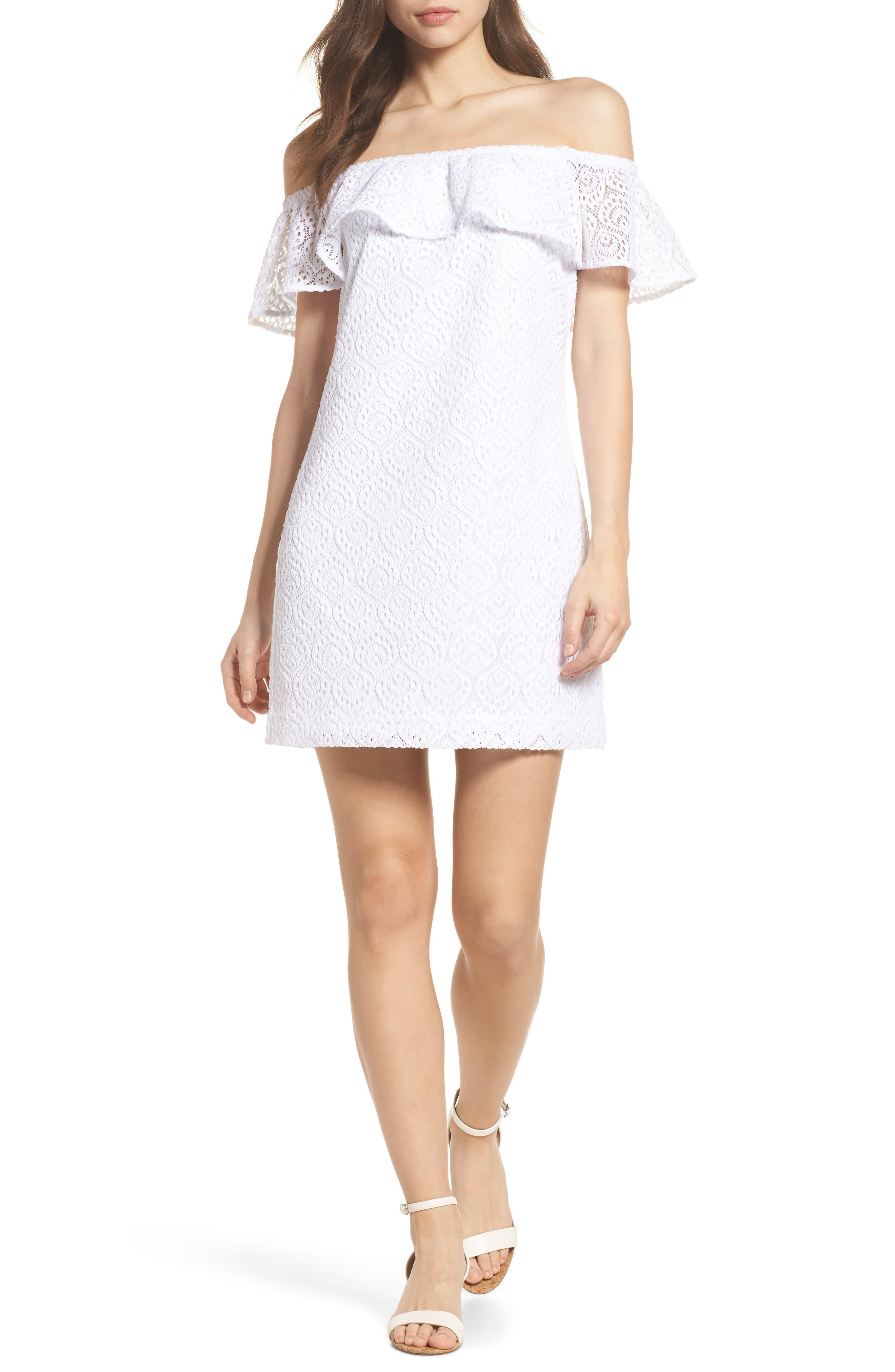 La Fortuna Off the Shoulder Lace Dress,                             Main thumbnail 1, color,                             100