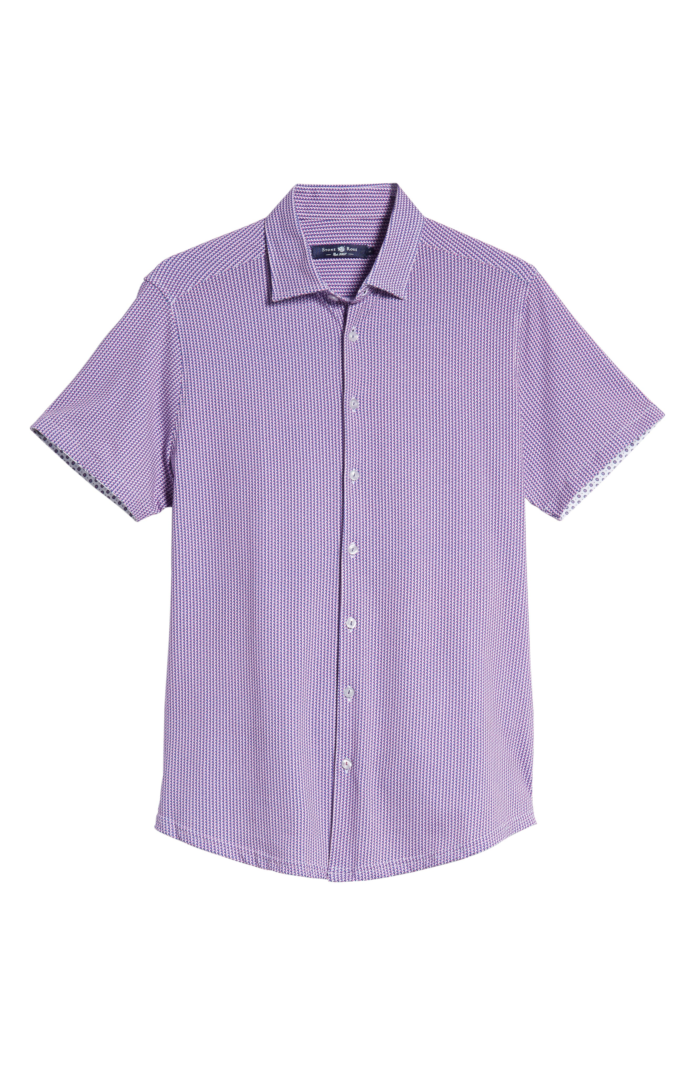 Regular Fit Geometric Print Knit Sport Shirt,                             Alternate thumbnail 5, color,                             650