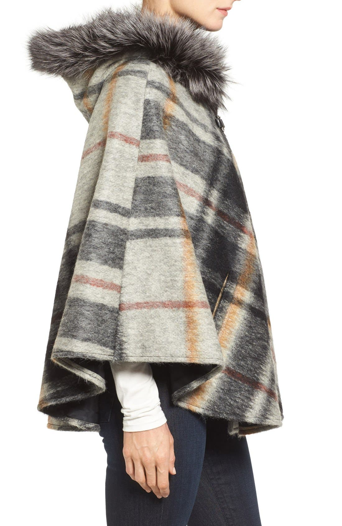 HISO,                             Hide Society Hooded Plaid Cape with Genuine Fox Fur Trim,                             Alternate thumbnail 2, color,                             020