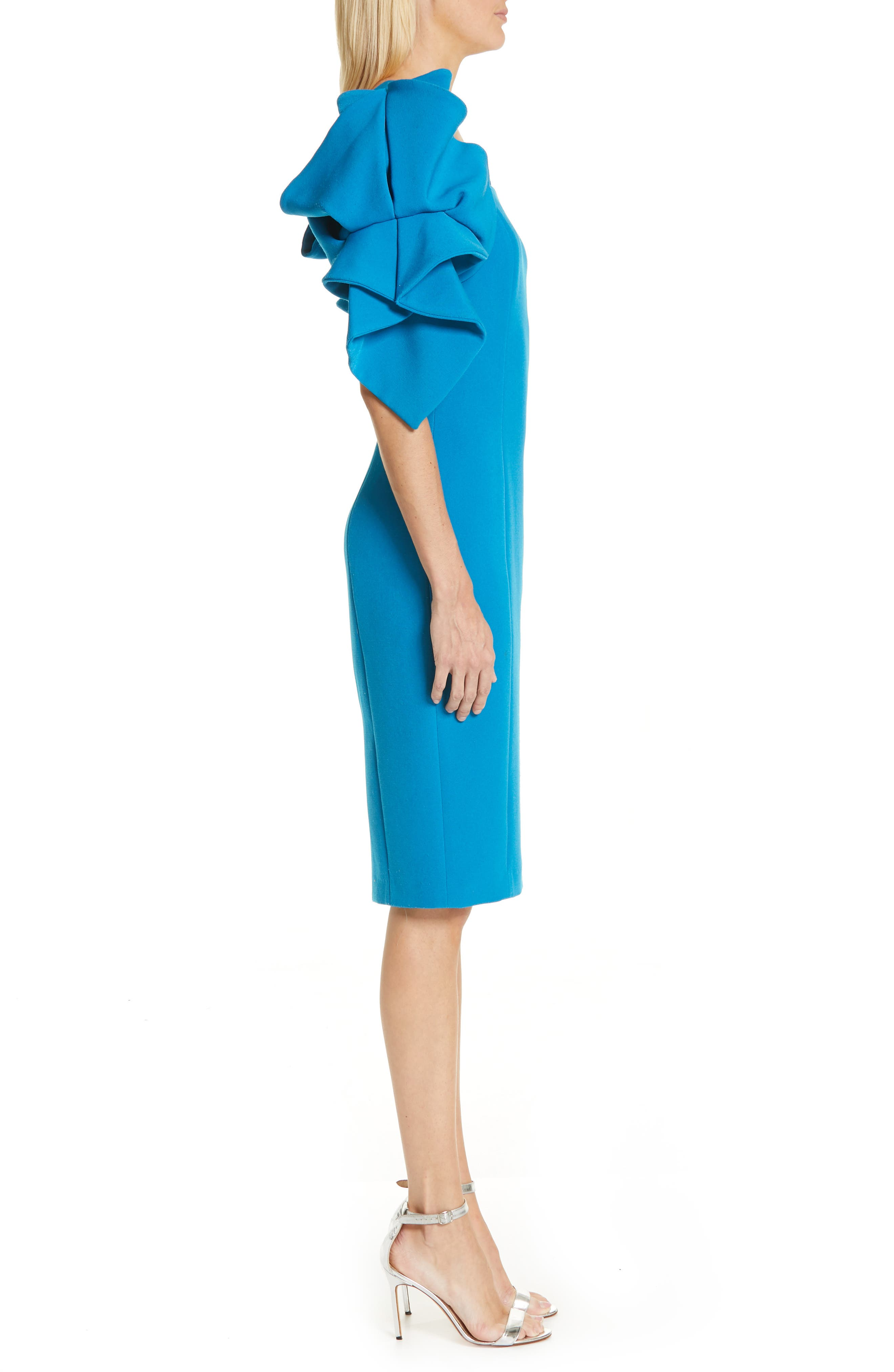 BADGLEY MISCHKA COLLECTION,                             Origami Sleeve Cocktail Dress,                             Alternate thumbnail 4, color,                             BRIGHT AQUA
