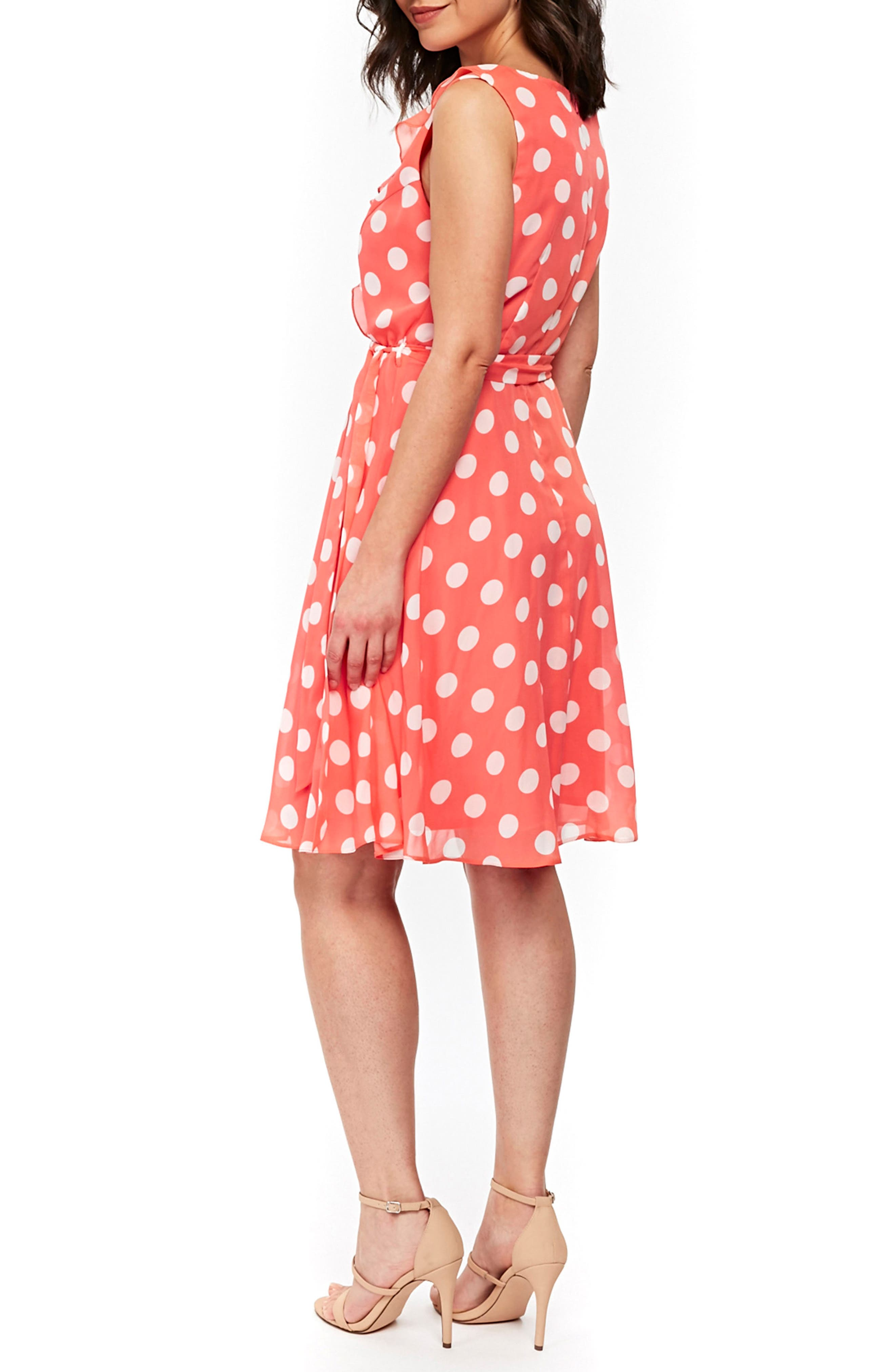 Ruffle Spot Fit & Flare Dress,                             Alternate thumbnail 2, color,                             CORAL