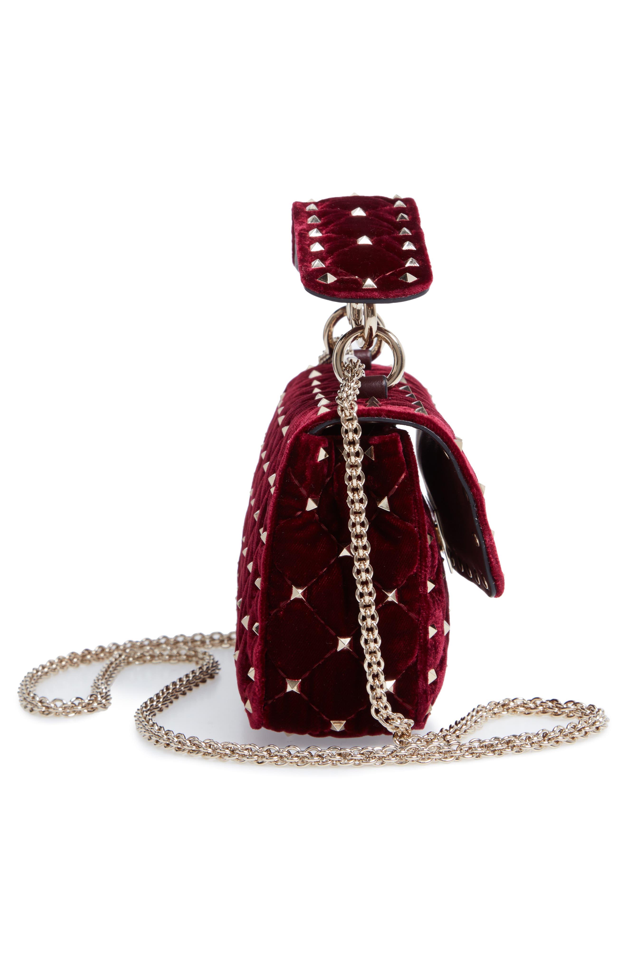 Rockstud Matelassé Velvet Small Shoulder Bag,                             Alternate thumbnail 5, color,                             RUBINO