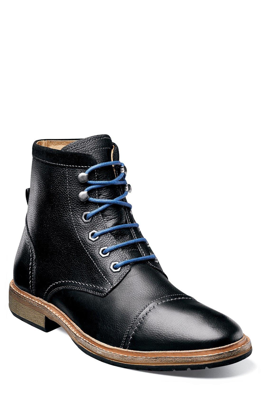 'Indie' Cap Toe Boot,                             Main thumbnail 1, color,                             BLACK
