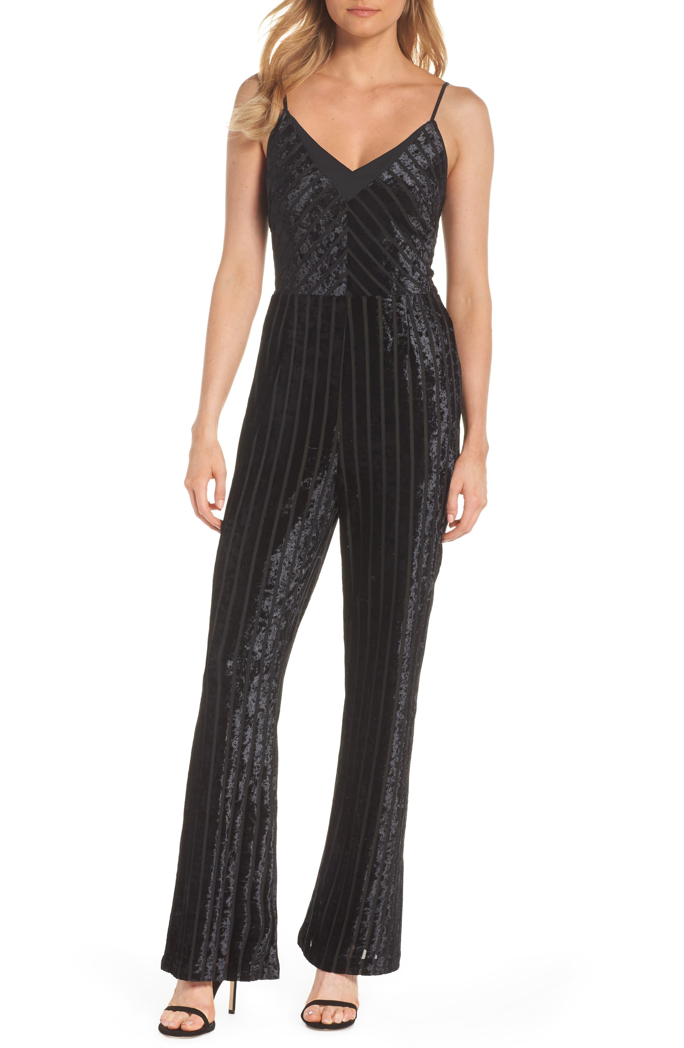 ADELYN RAE Naomi Stripe Velvet Jumpsuit in Black
