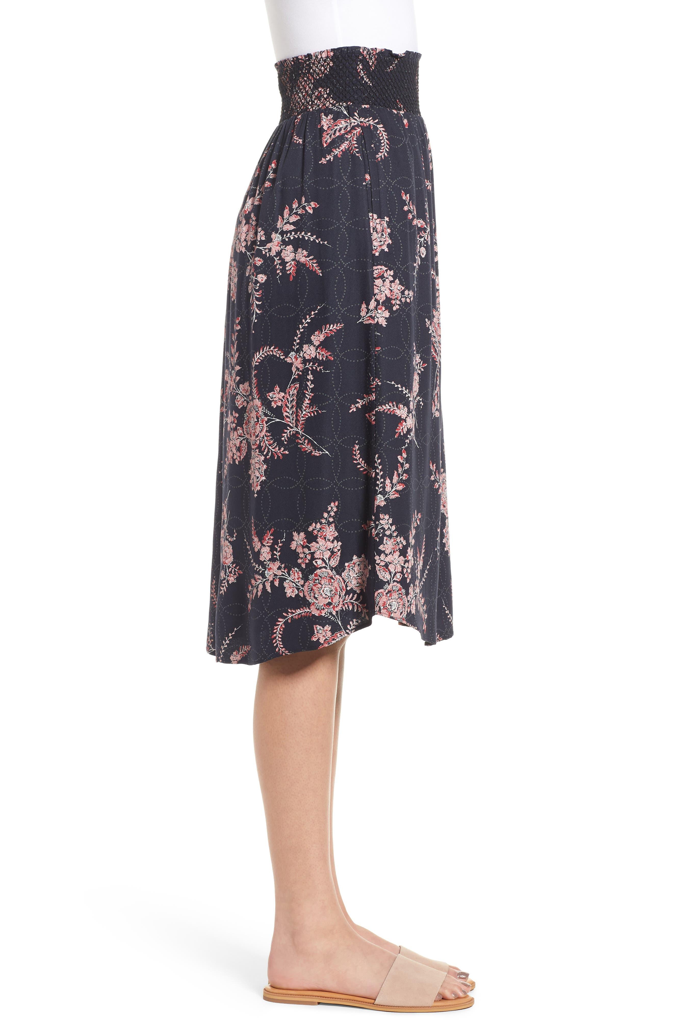 Smock Waist Midi Skirt,                             Alternate thumbnail 3, color,                             410