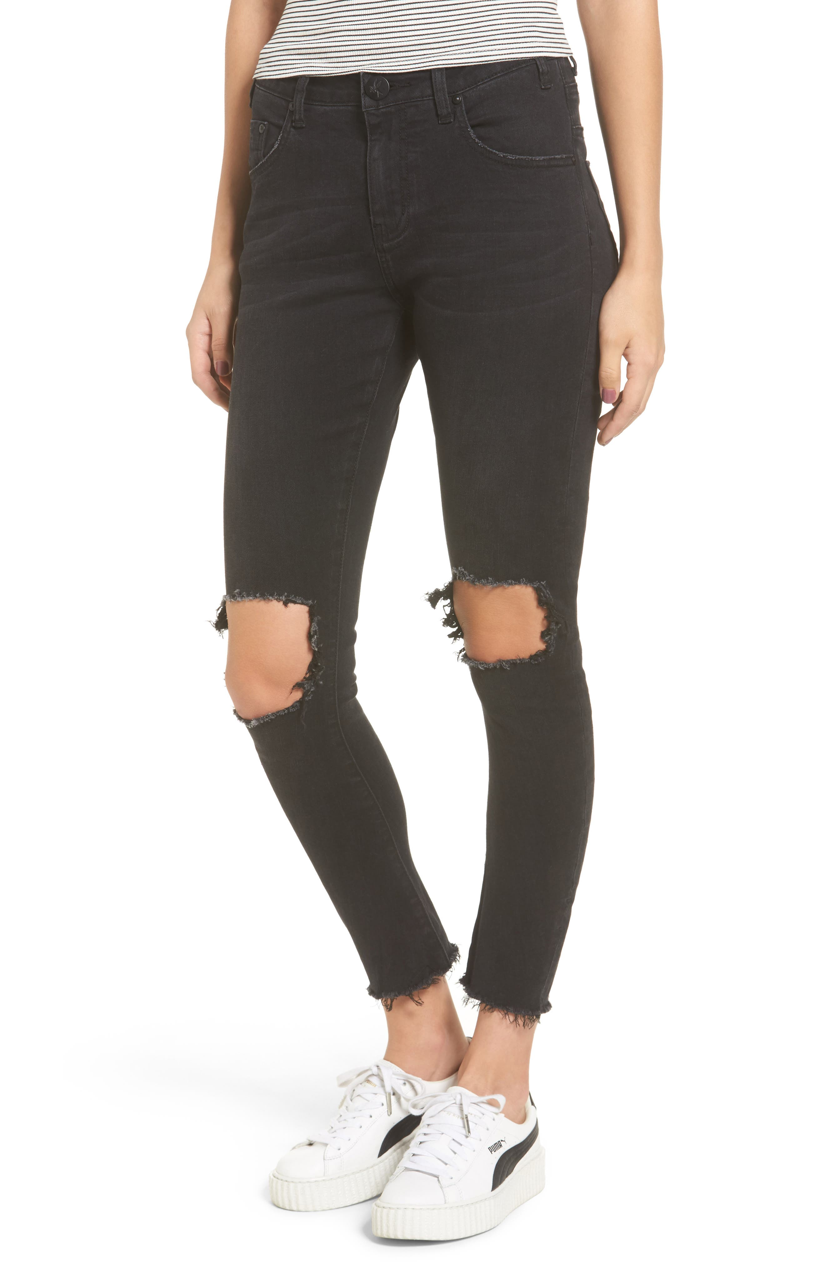 Freebirds Ripped High Waist Skinny Jeans,                             Main thumbnail 1, color,                             001