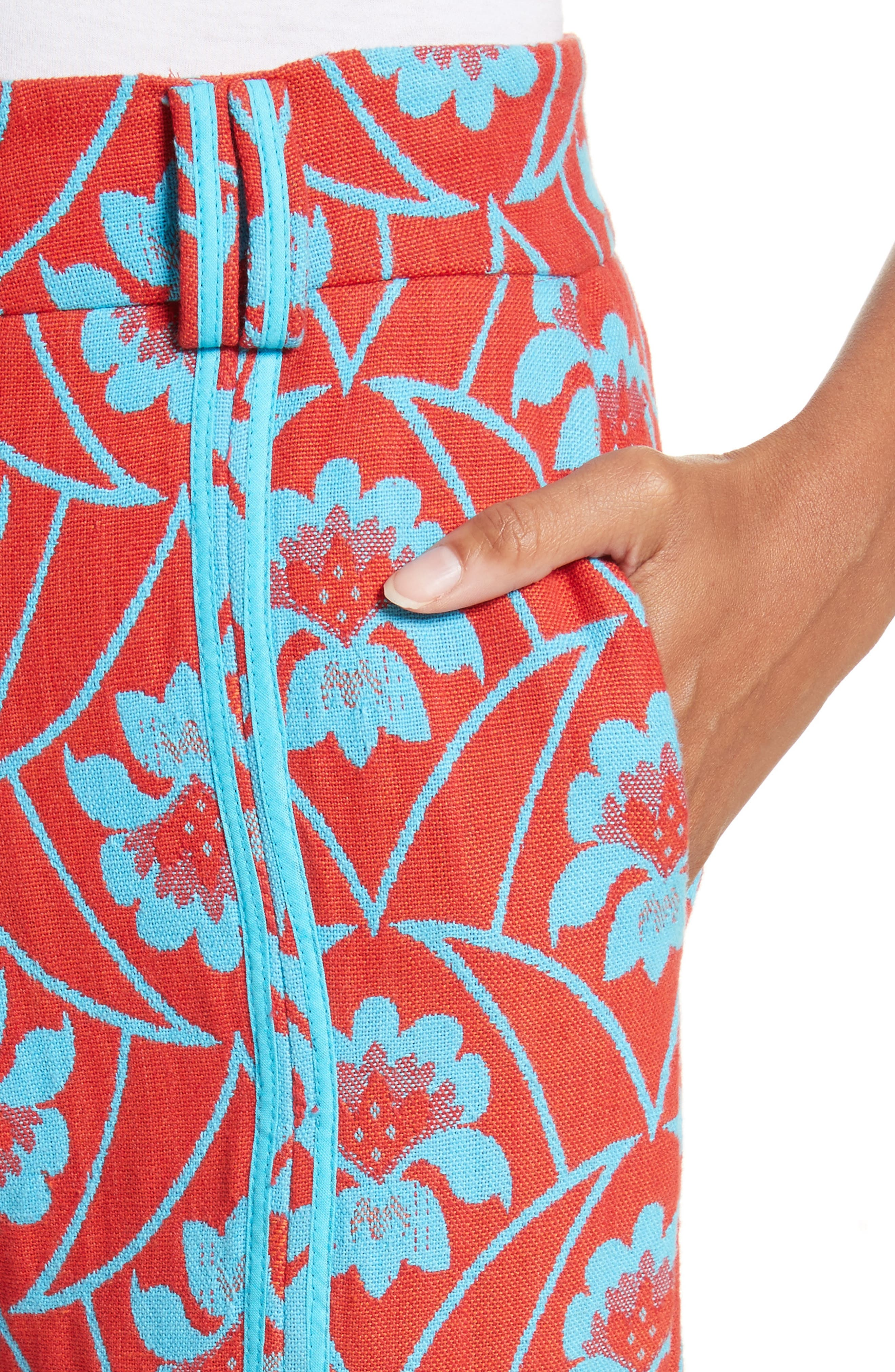 Floral Flare Trousers,                             Alternate thumbnail 4, color,