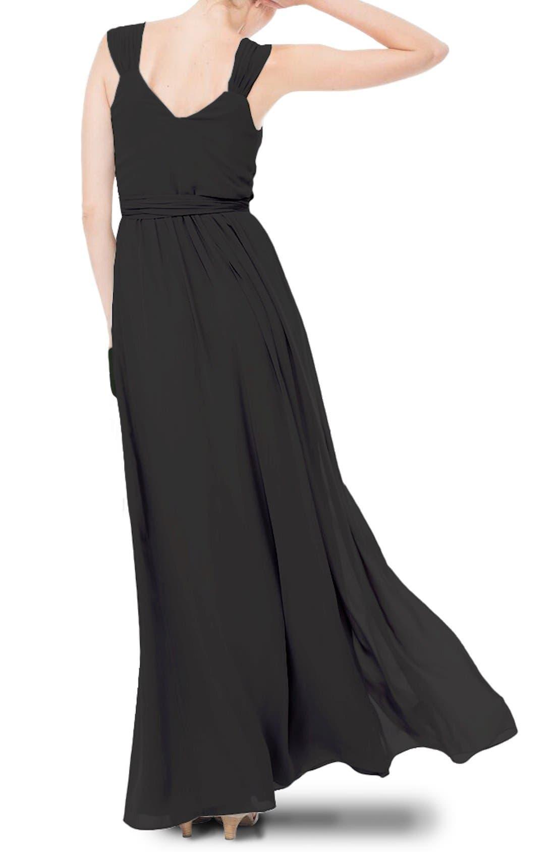 Newbury Gathered Sleeve Chiffon Wrap Gown,                             Alternate thumbnail 12, color,