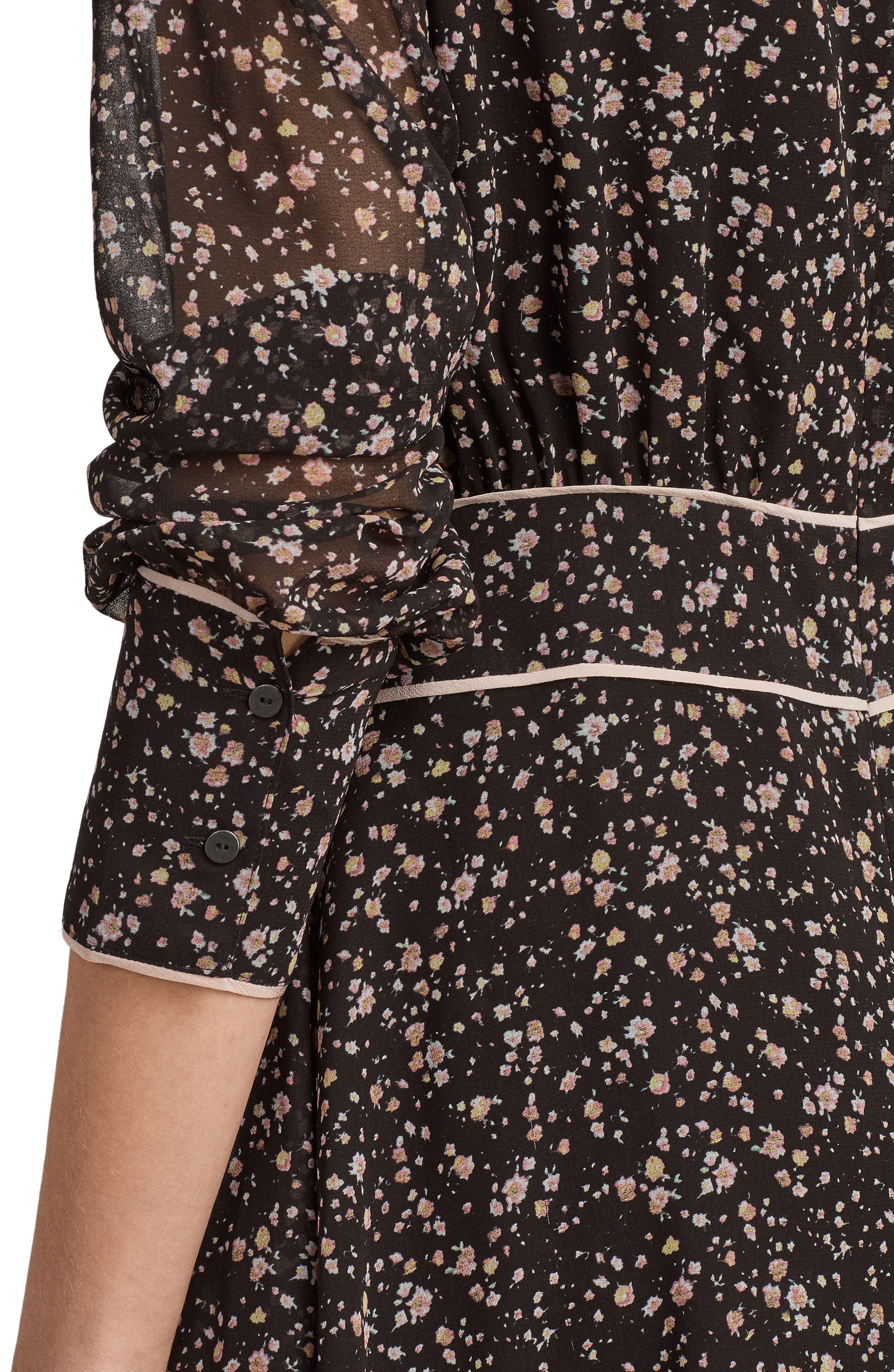 Kay Pepper Floral Print Dress,                             Alternate thumbnail 6, color,                             001