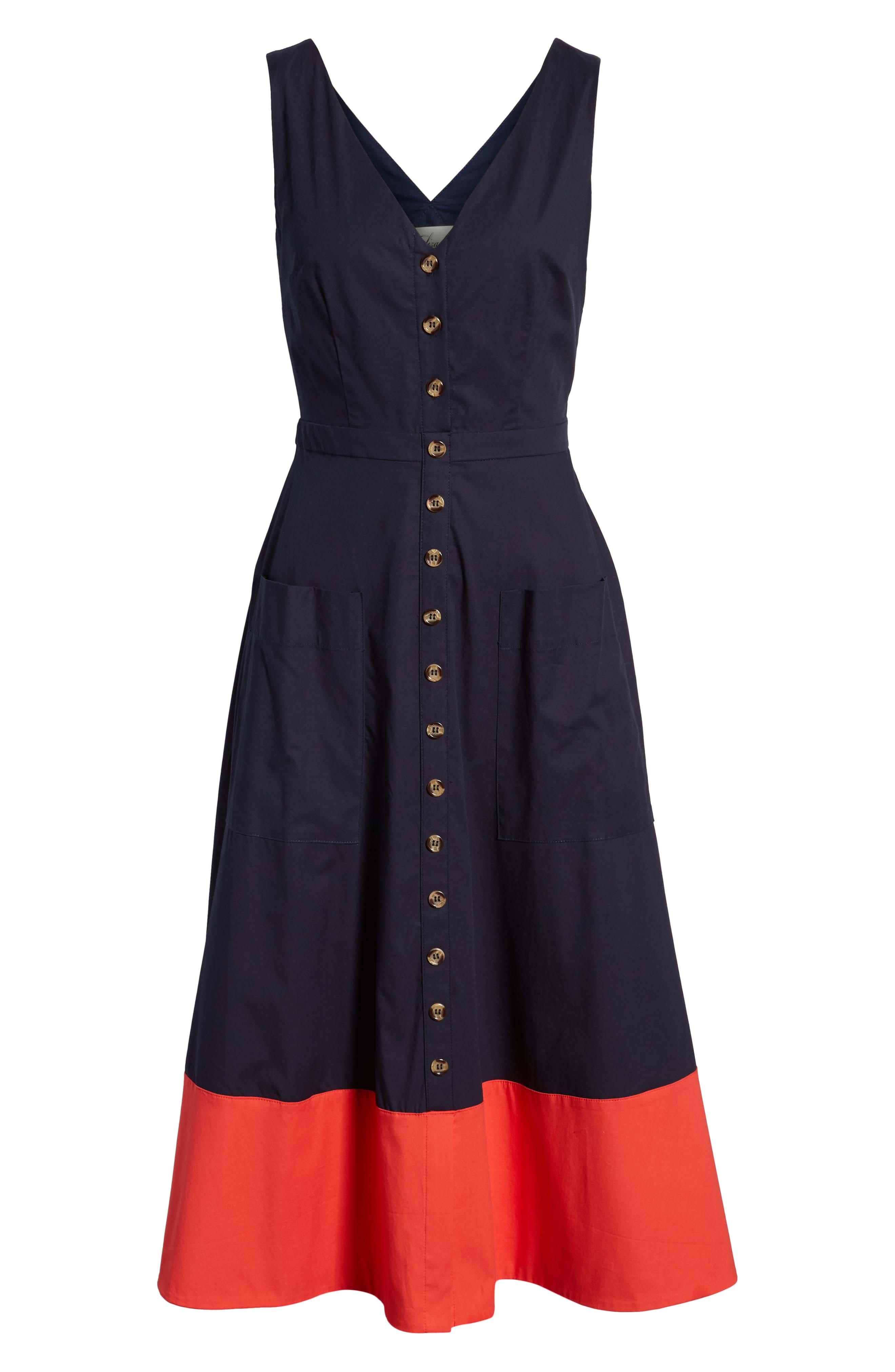 Colorblock Cotton Midi Dress,                             Alternate thumbnail 6, color,                             NAVY RED COLOR BLOCK