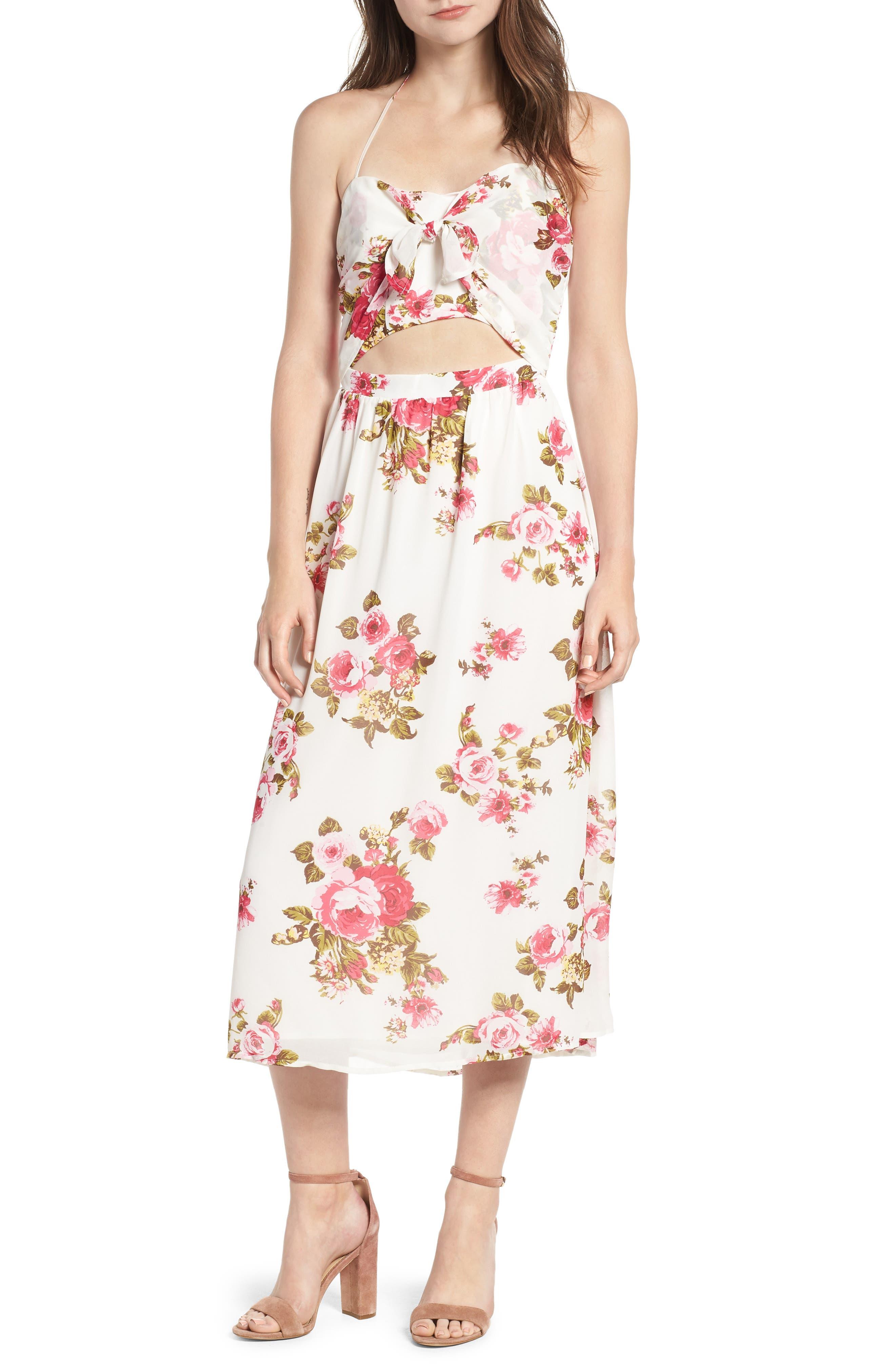 Floral Print Halter Midi Dress,                         Main,                         color, 900