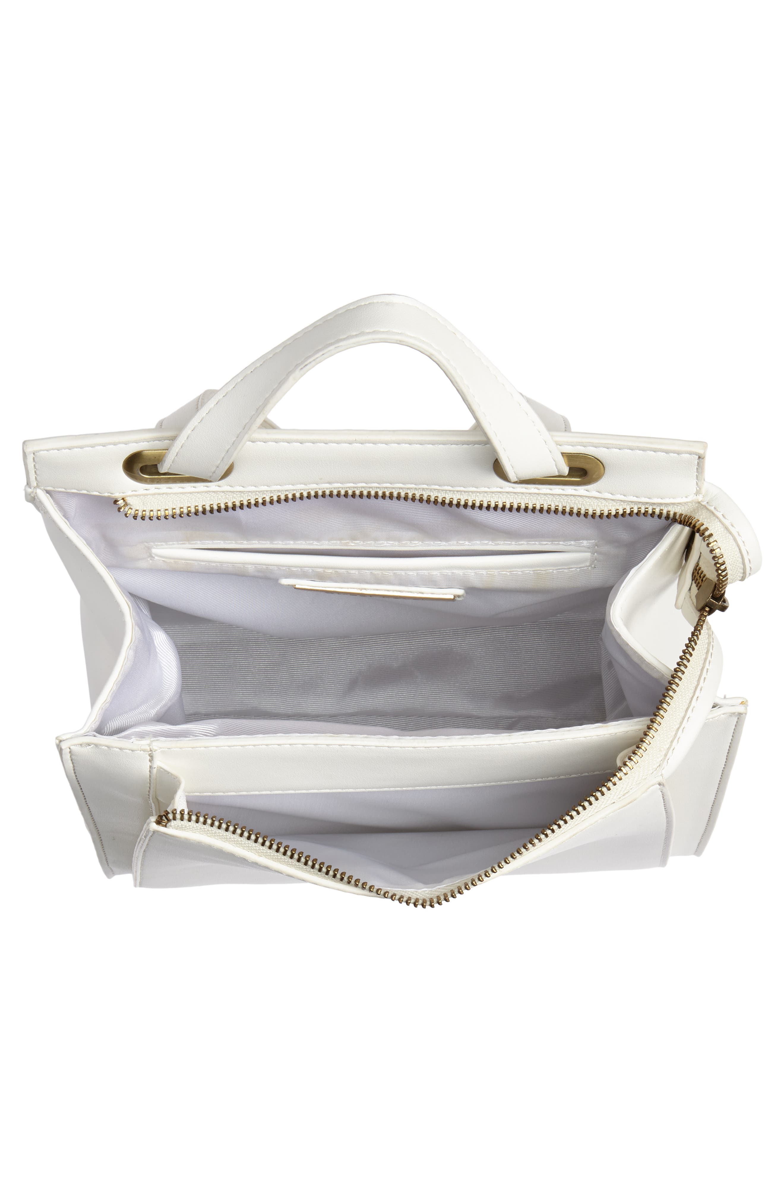 Faux Leather Convertible Backpack,                             Alternate thumbnail 5, color,                             OPTIC WHITE