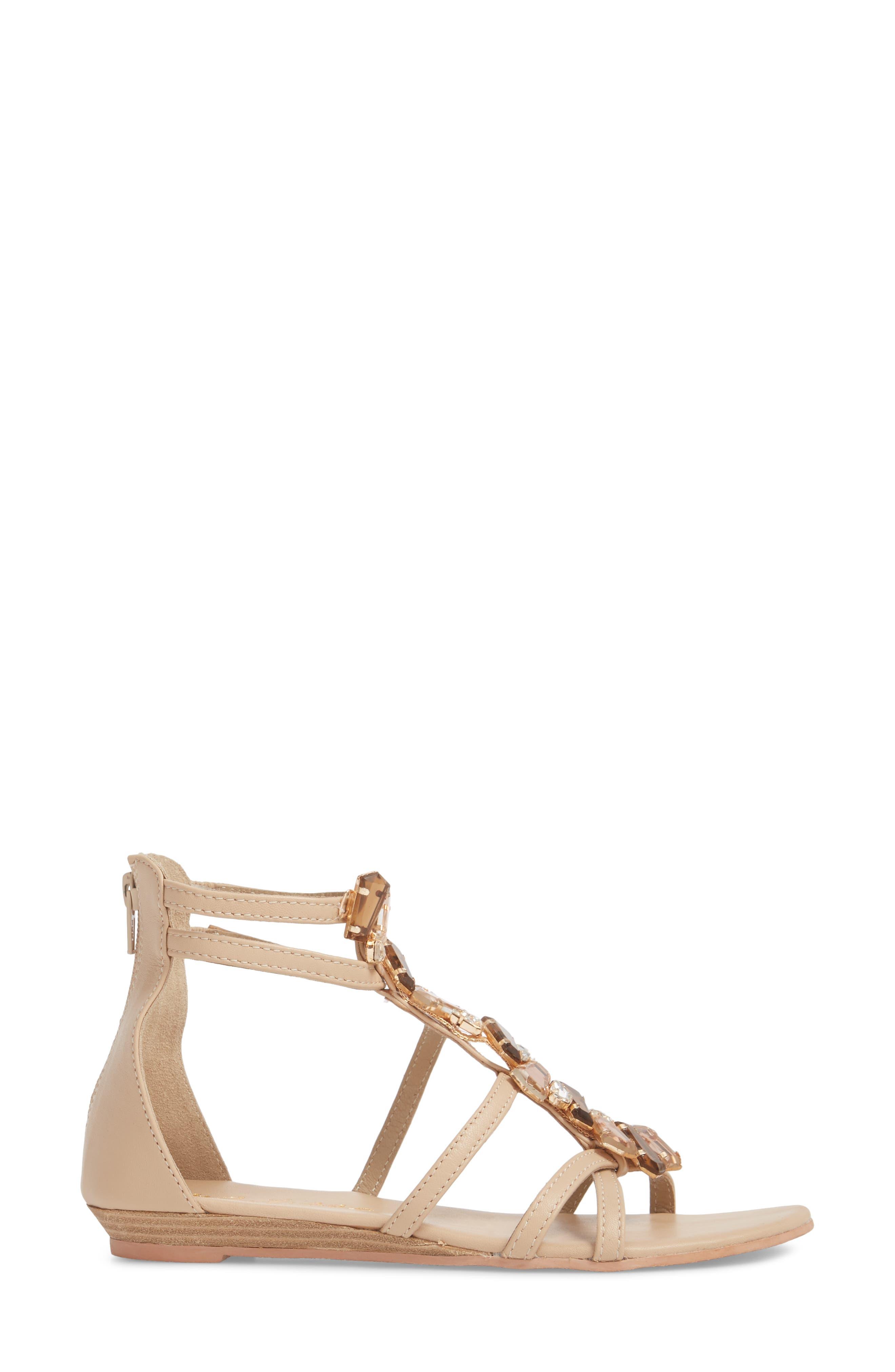 Didi Crystal Embellished Sandal,                             Alternate thumbnail 3, color,                             NATURAL LEATHER